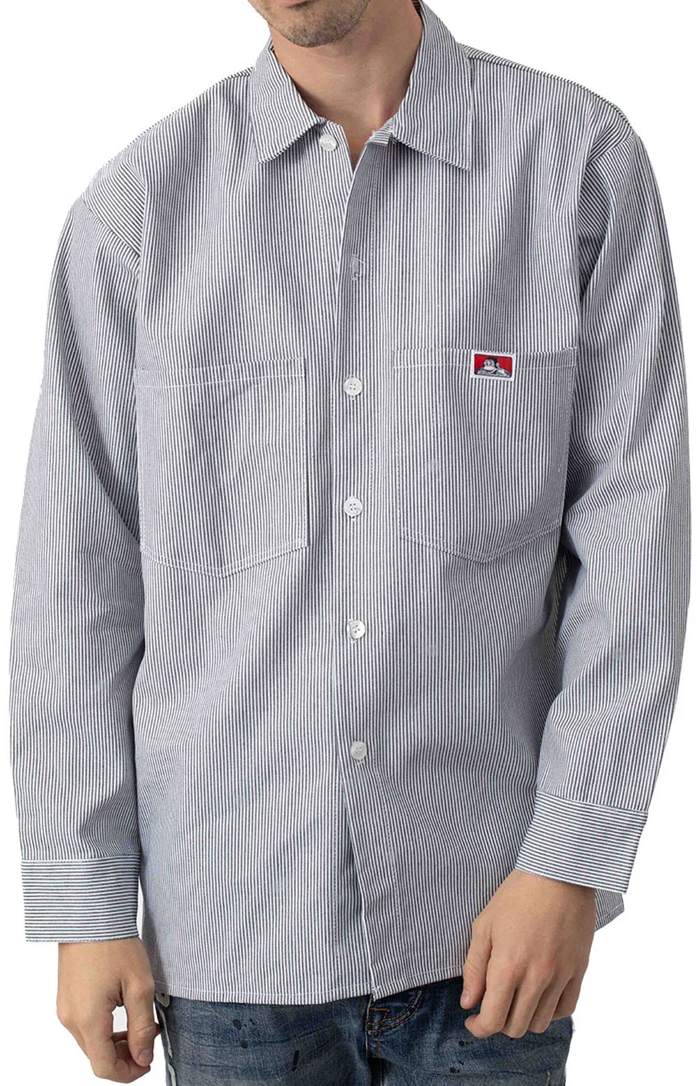 L/S Front Stripe Button-Up Shirt - Hickory