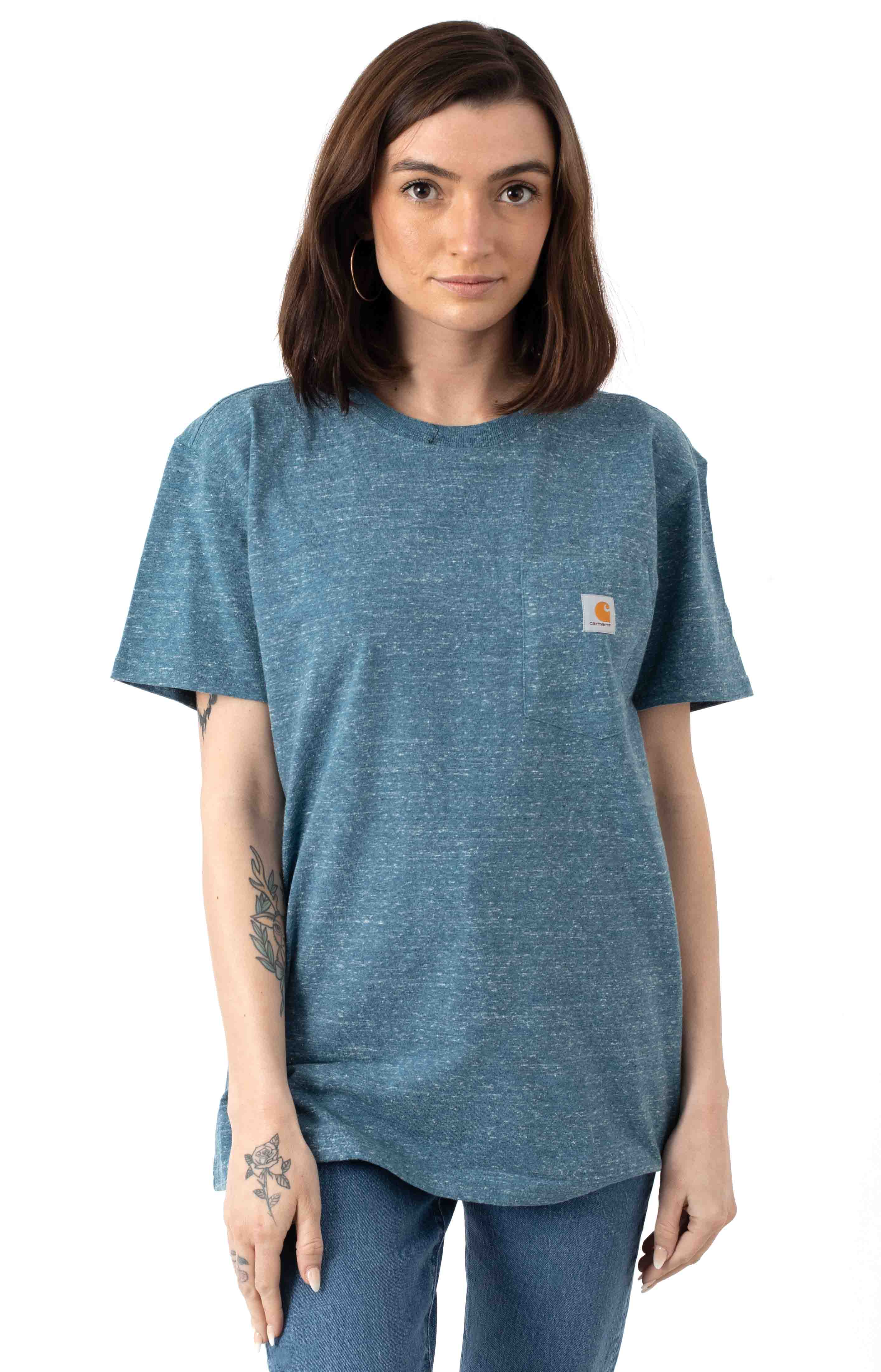 (103067) WK87 Workwear Pocket T-Shirt - Ocean Blue Snow Heather