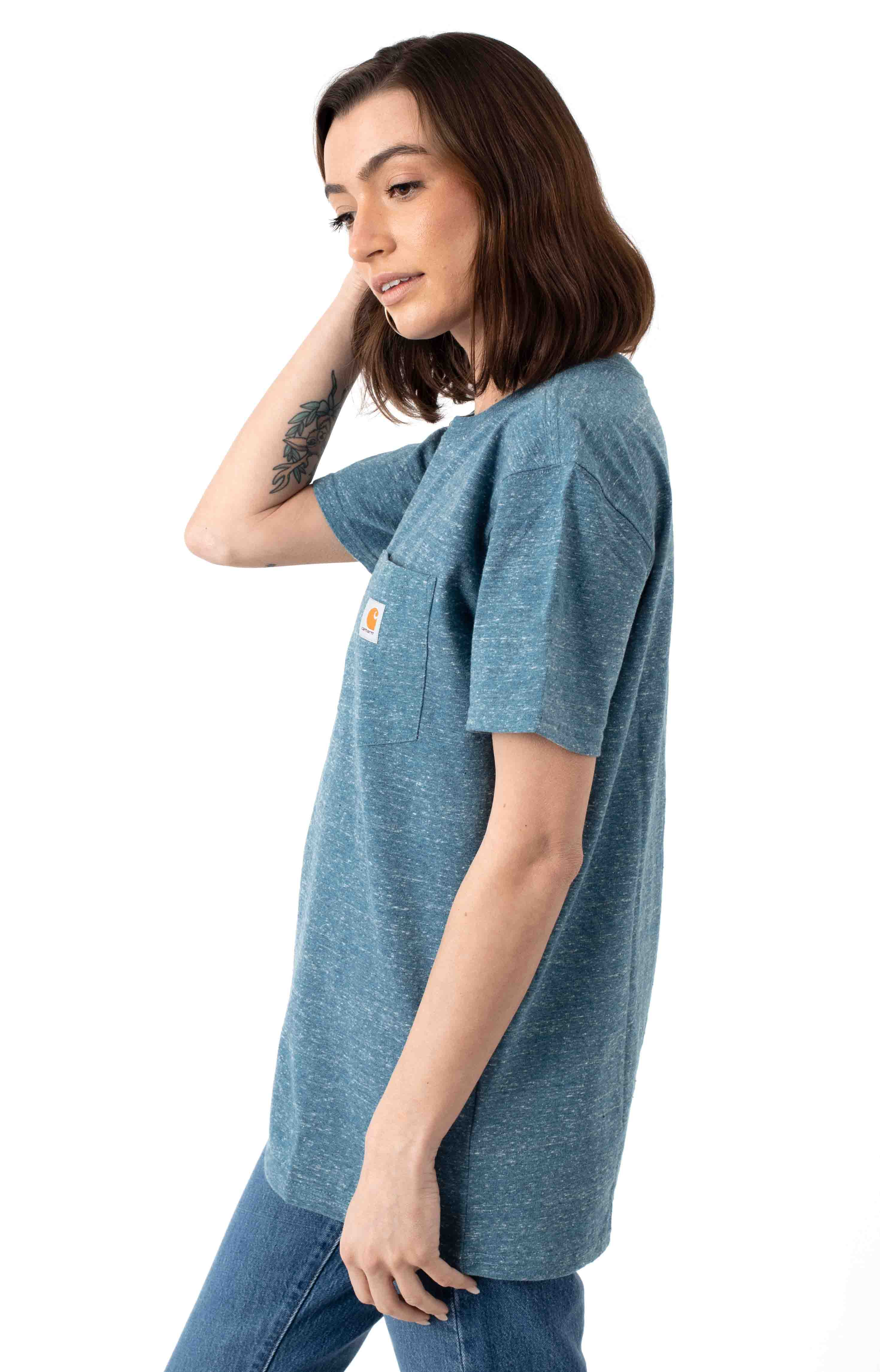 (103067) WK87 Workwear Pocket T-Shirt - Ocean Blue Snow Heather  2