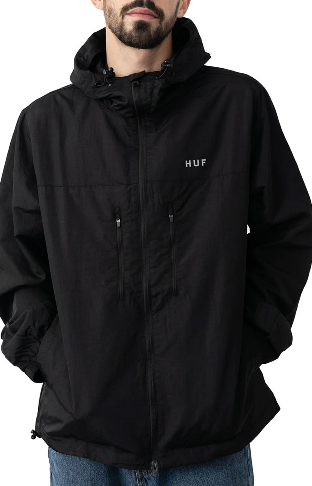 Essentials Zip Standard Shell Jacket - Black