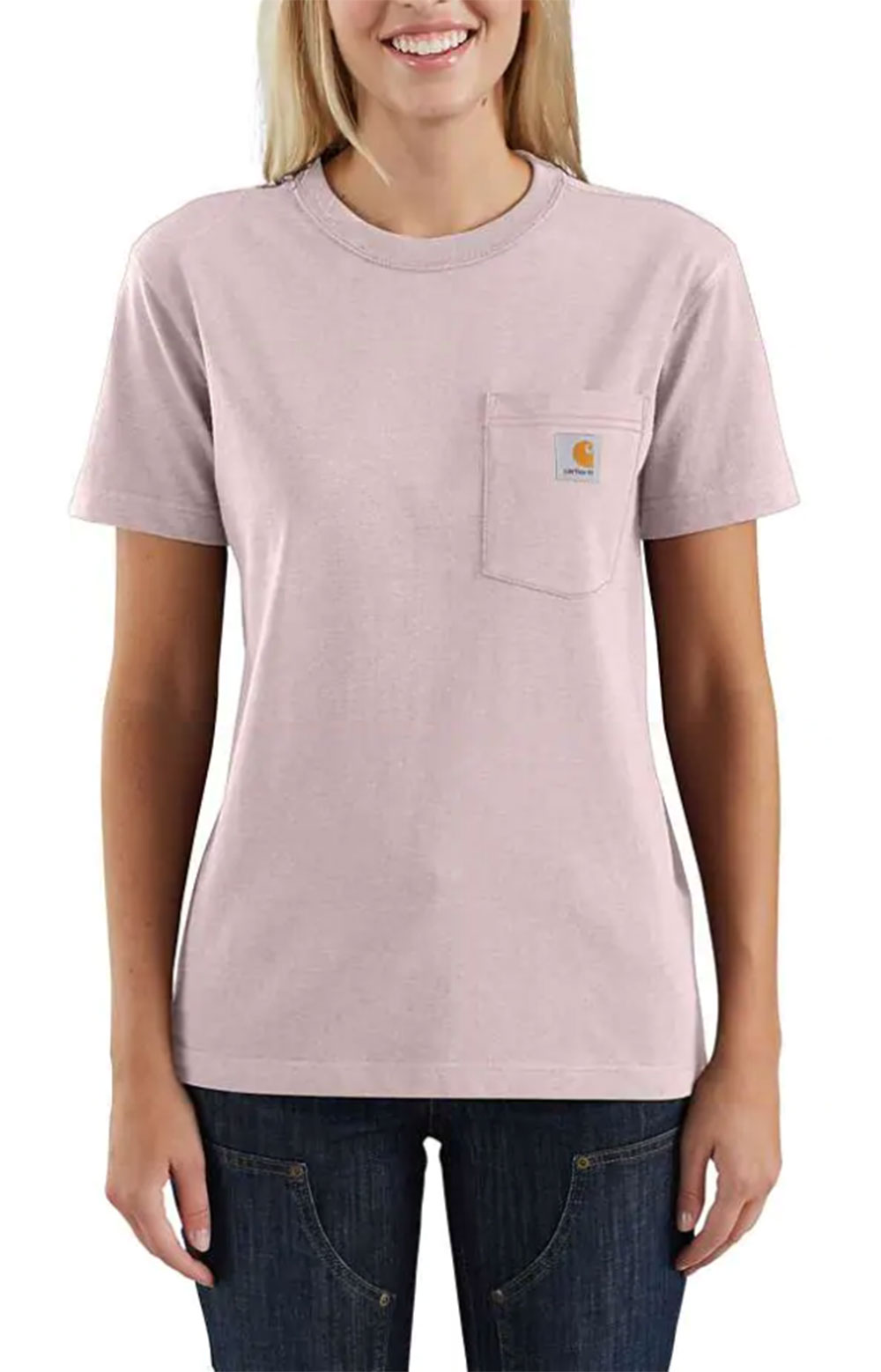 (104687) Loose Fit HW S/S Pocket Tried & True Graphic T-Shirt - Crepe Heather
