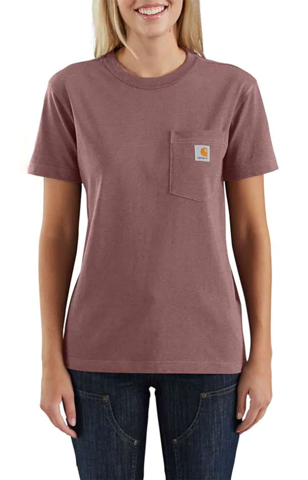 (104687) Loose Fit HW S/S Pocket Tried & True Graphic T-Shirt - Raisin Heather