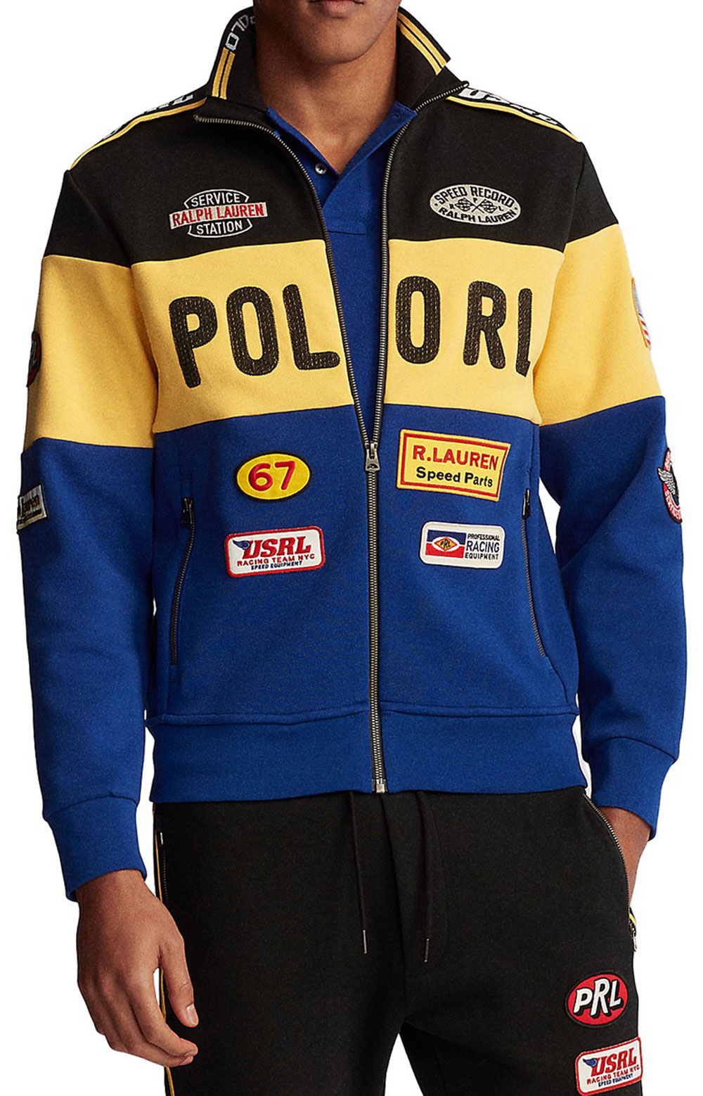Double Knit Racing Jacket - Black Multi