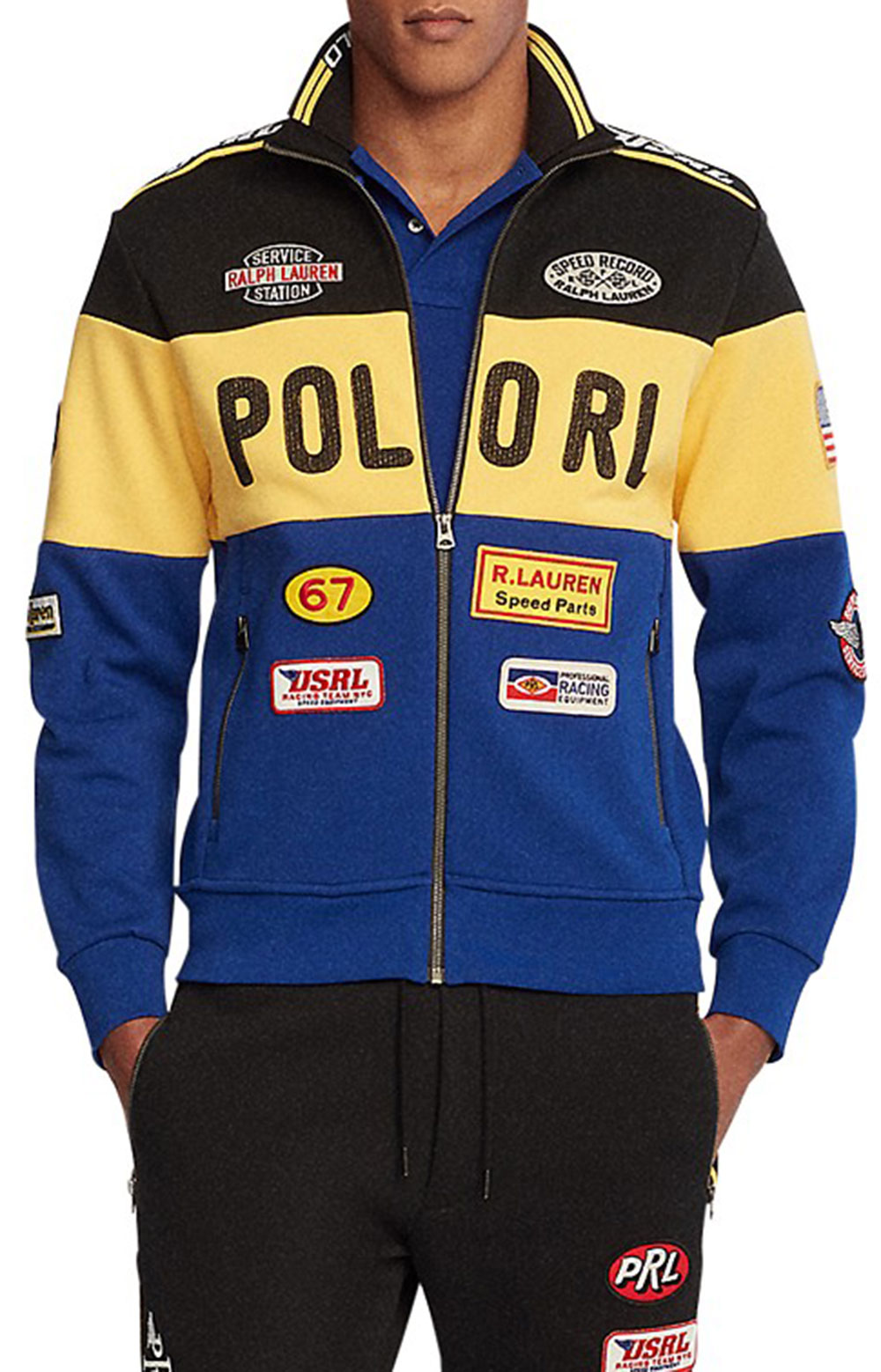 Double Knit Racing Jacket - Black Multi 3