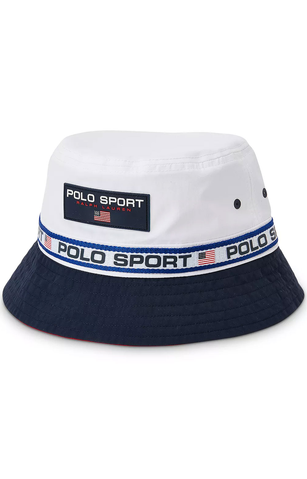Polo Sport Nylon Bucket Hat - Pure White/Newport Navy