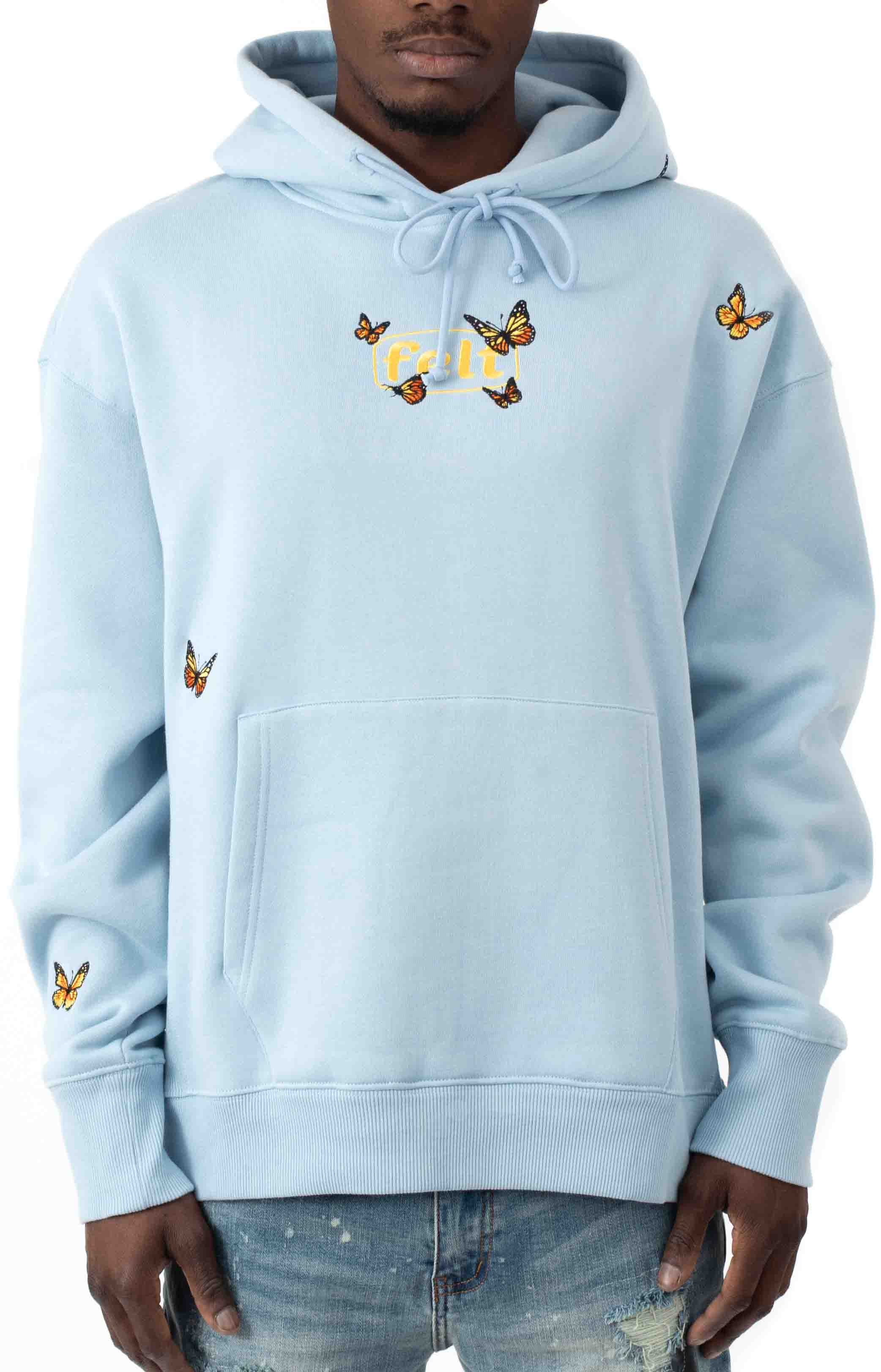 Butterfly Pullover Hoodie - Baby Blue