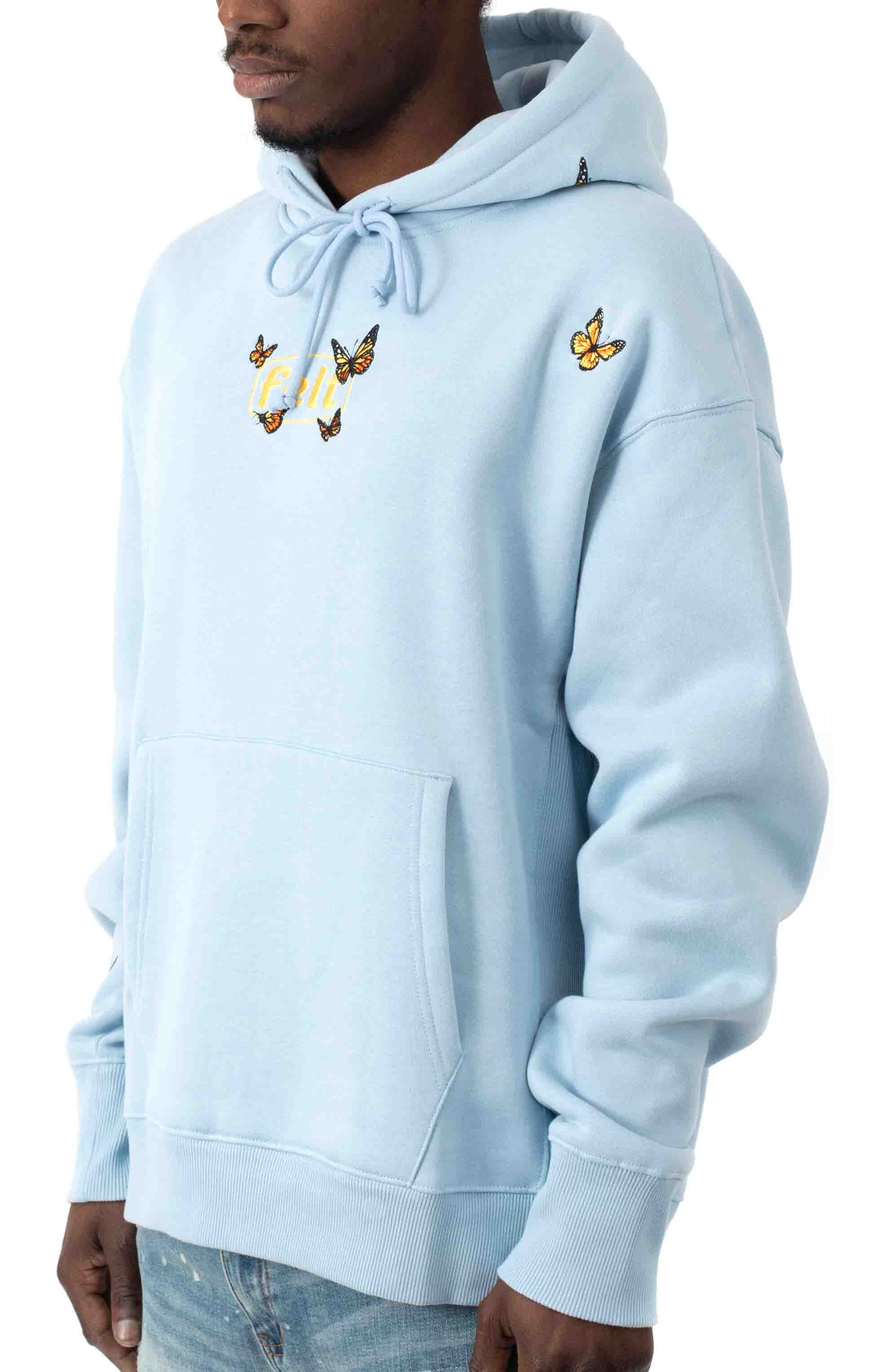 Butterfly Pullover Hoodie - Baby Blue  2