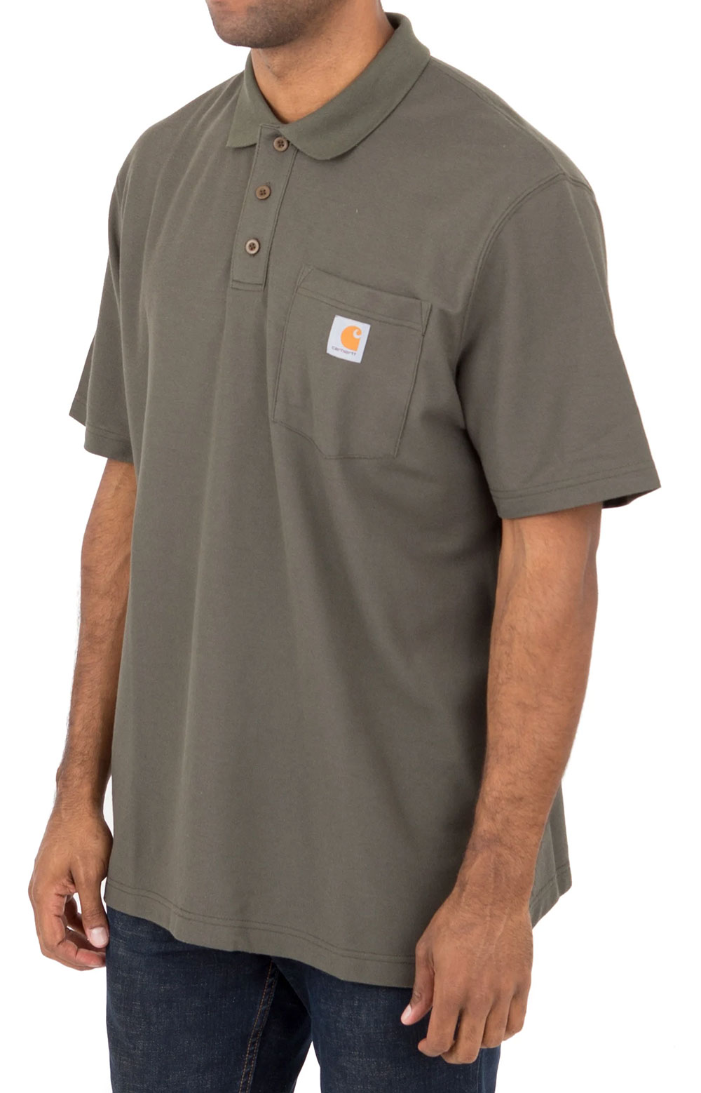 (K570) Contractor's Work Pocket Polo - Moss 2