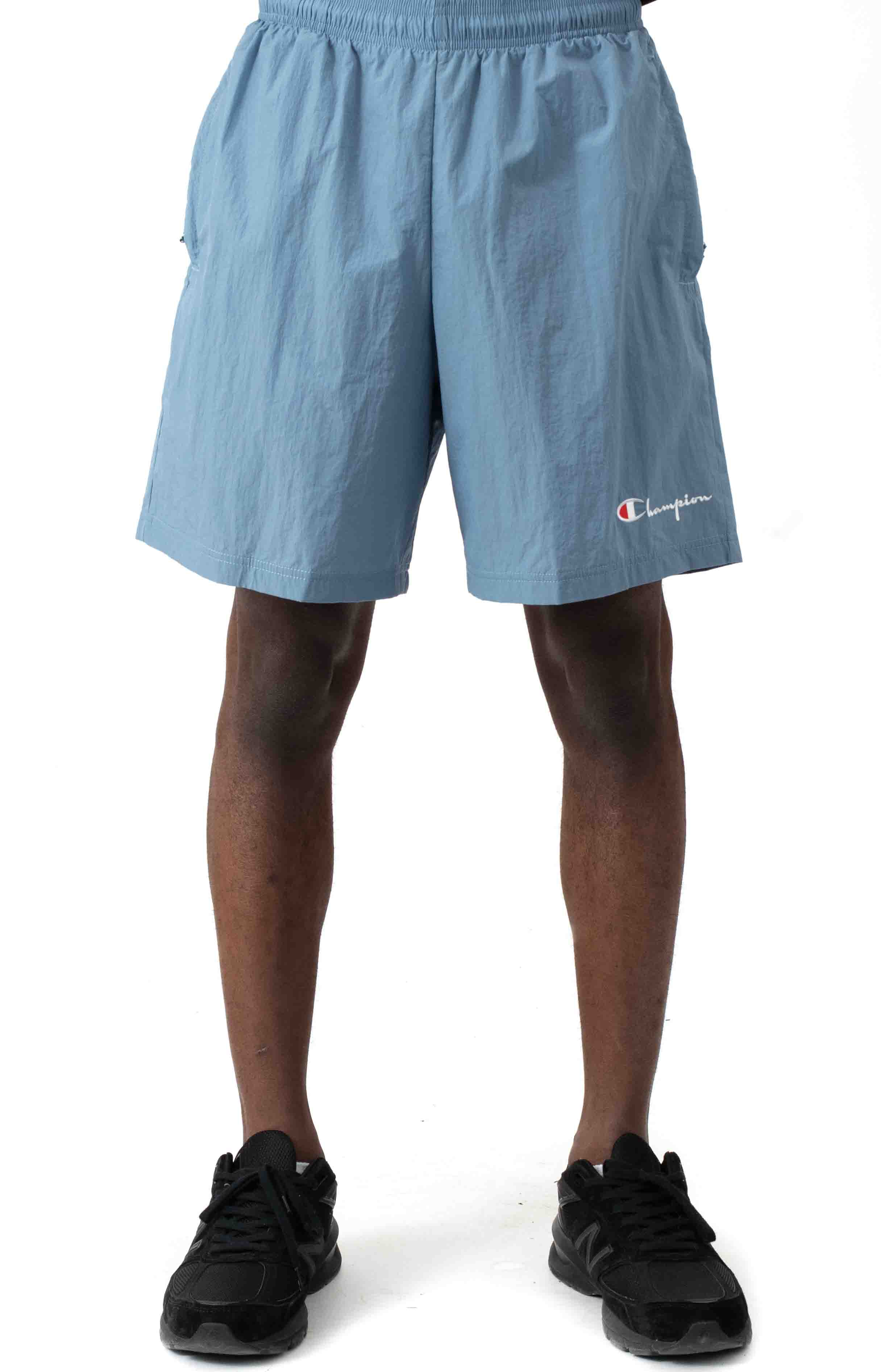 6-Inch Nylon Warm Up Shorts - Wildflower Pale Blue  2
