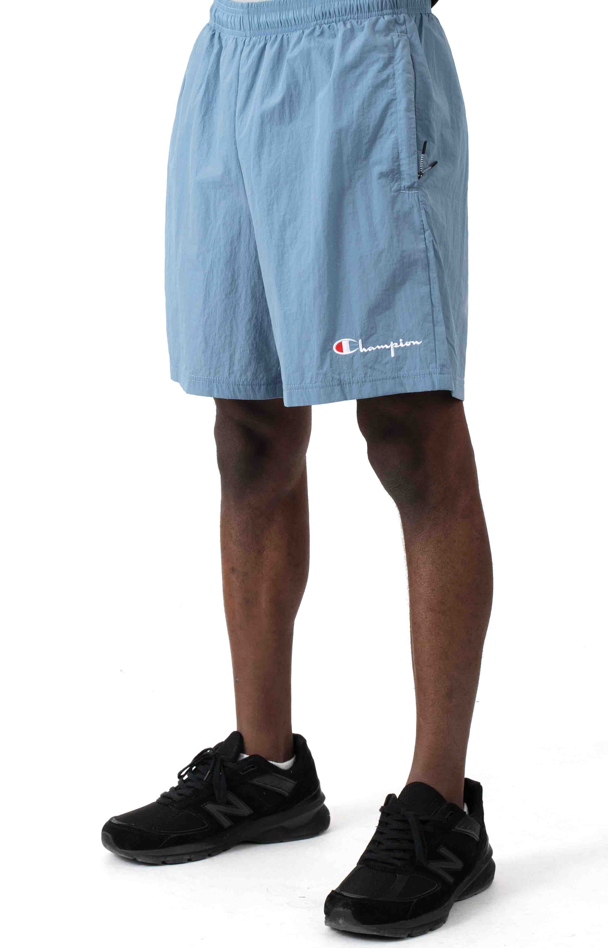 6-Inch Nylon Warm Up Shorts - Wildflower Pale Blue