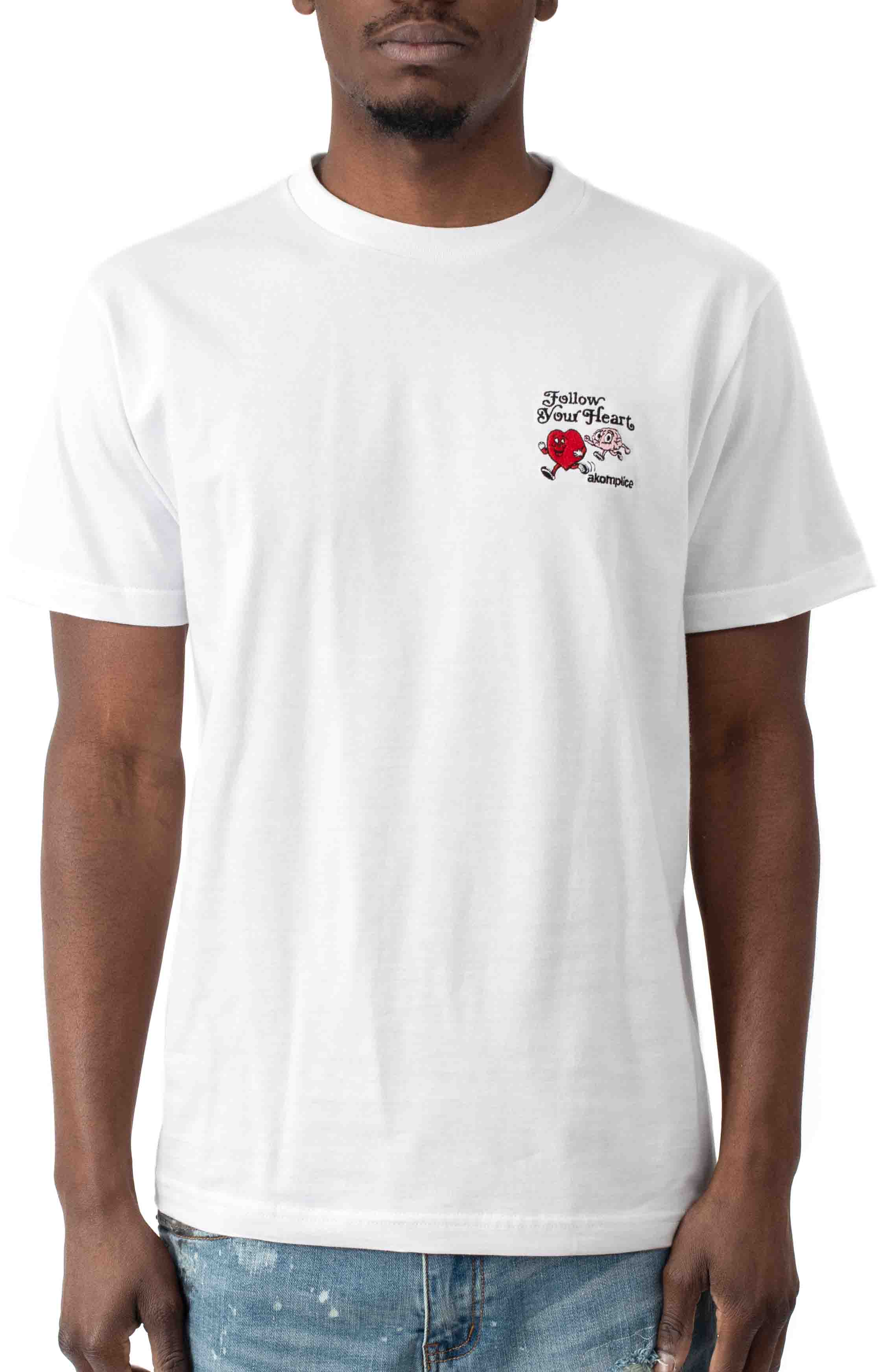 Follow Your Heart Embroidered T-Shirt - White