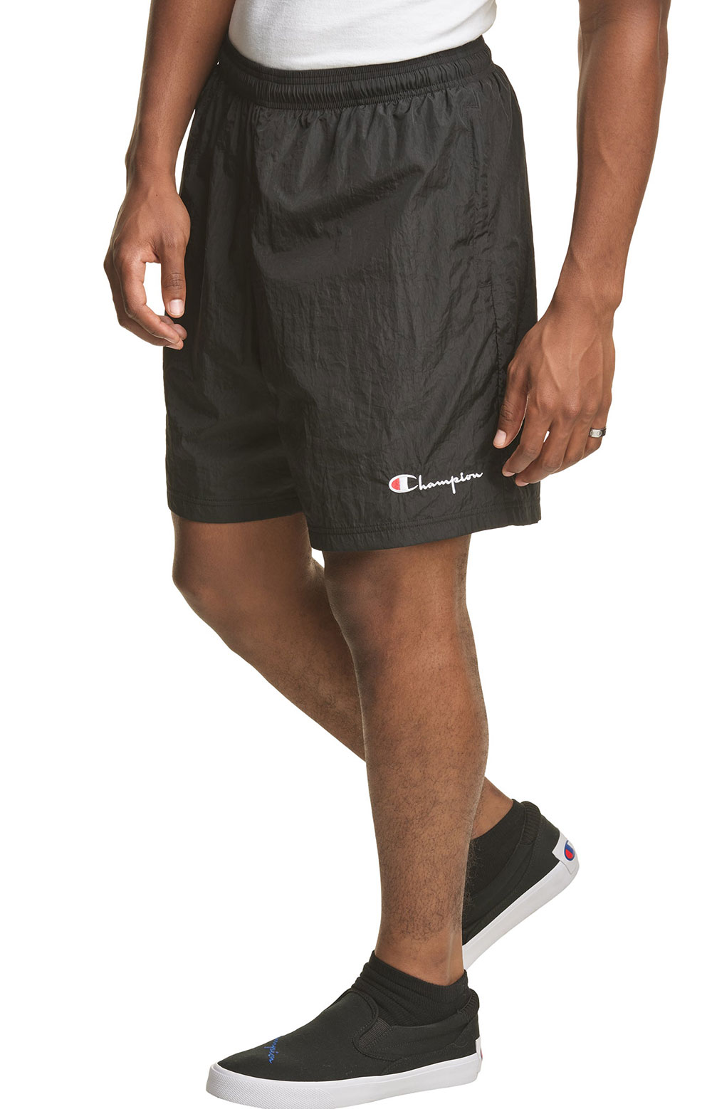 6-Inch Nylon Warm Up Shorts - Black