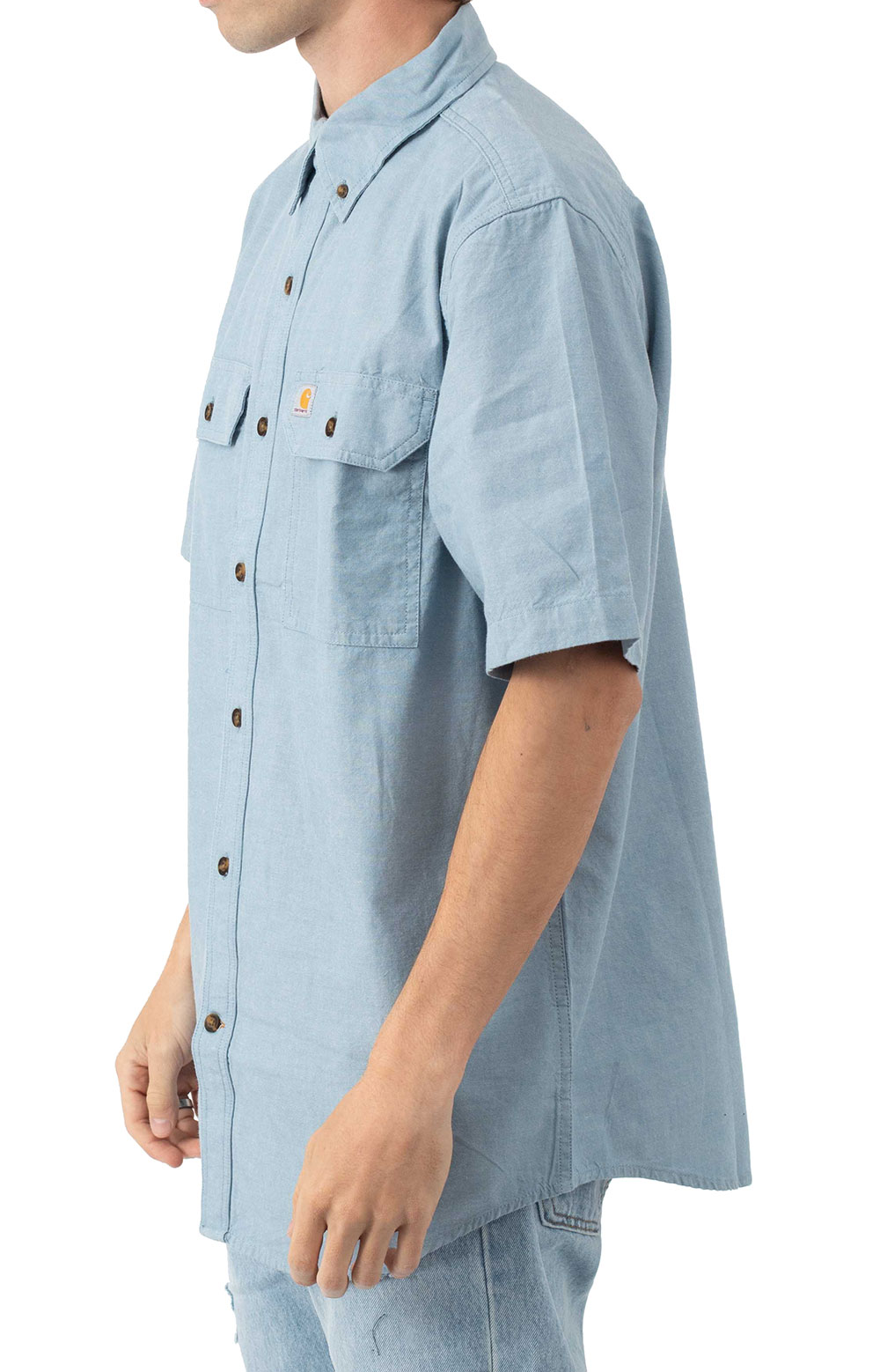 (104369) Original Fit MW S/S Button-Up Shirt - Blue Chambray  2