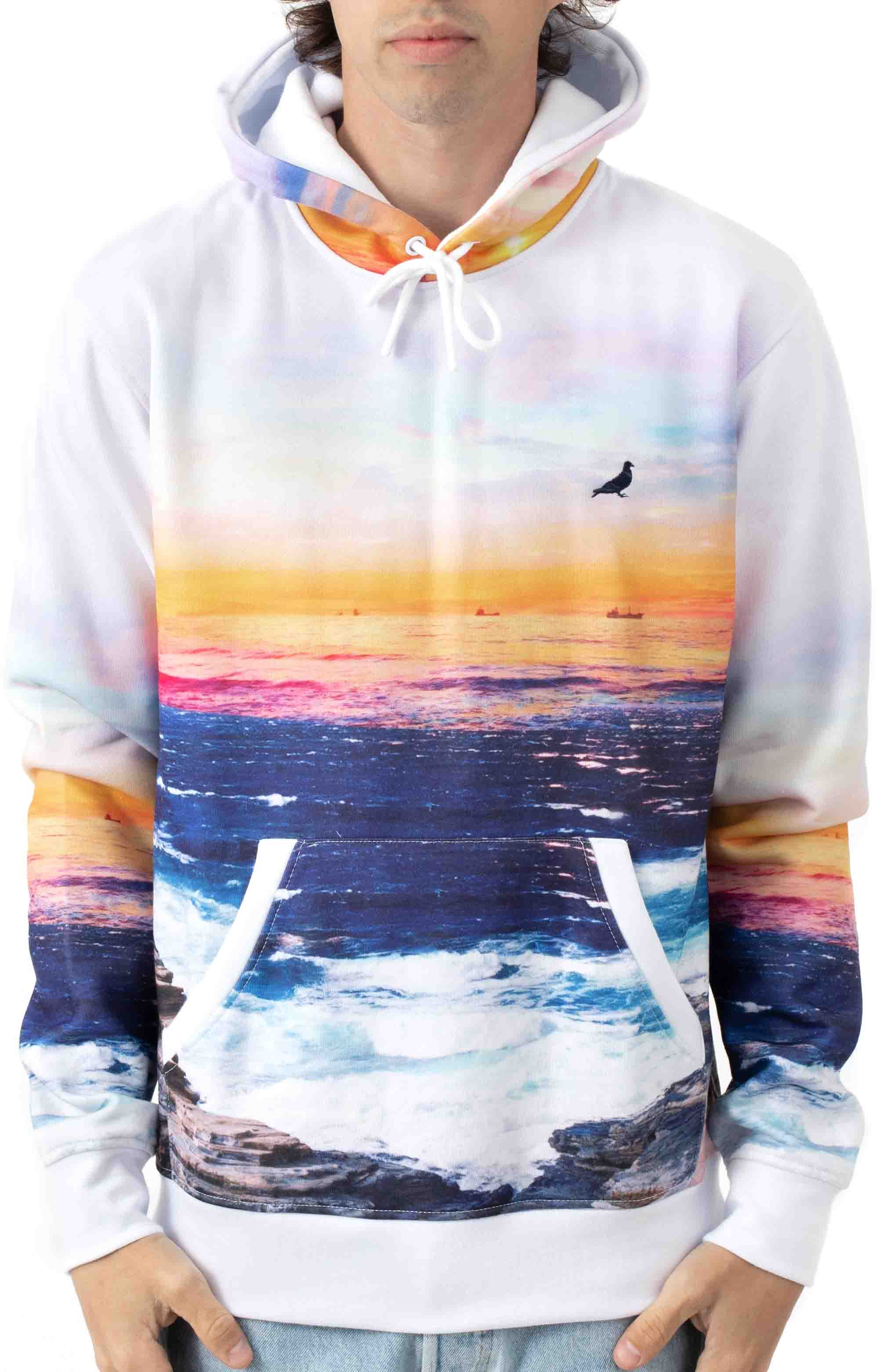 Sunset Pigeon Pullover Hoodie - White