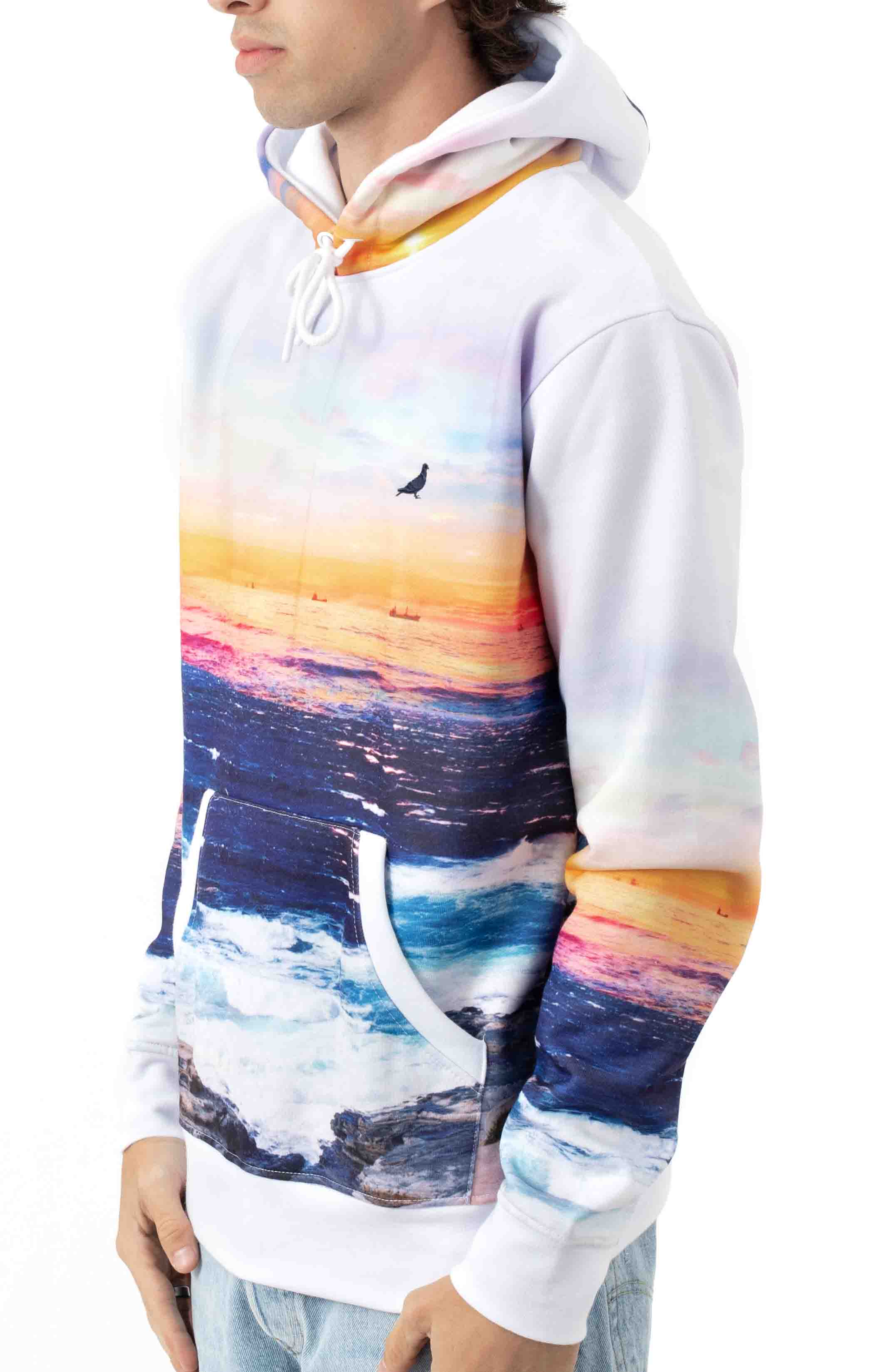 Sunset Pigeon Pullover Hoodie - White 2