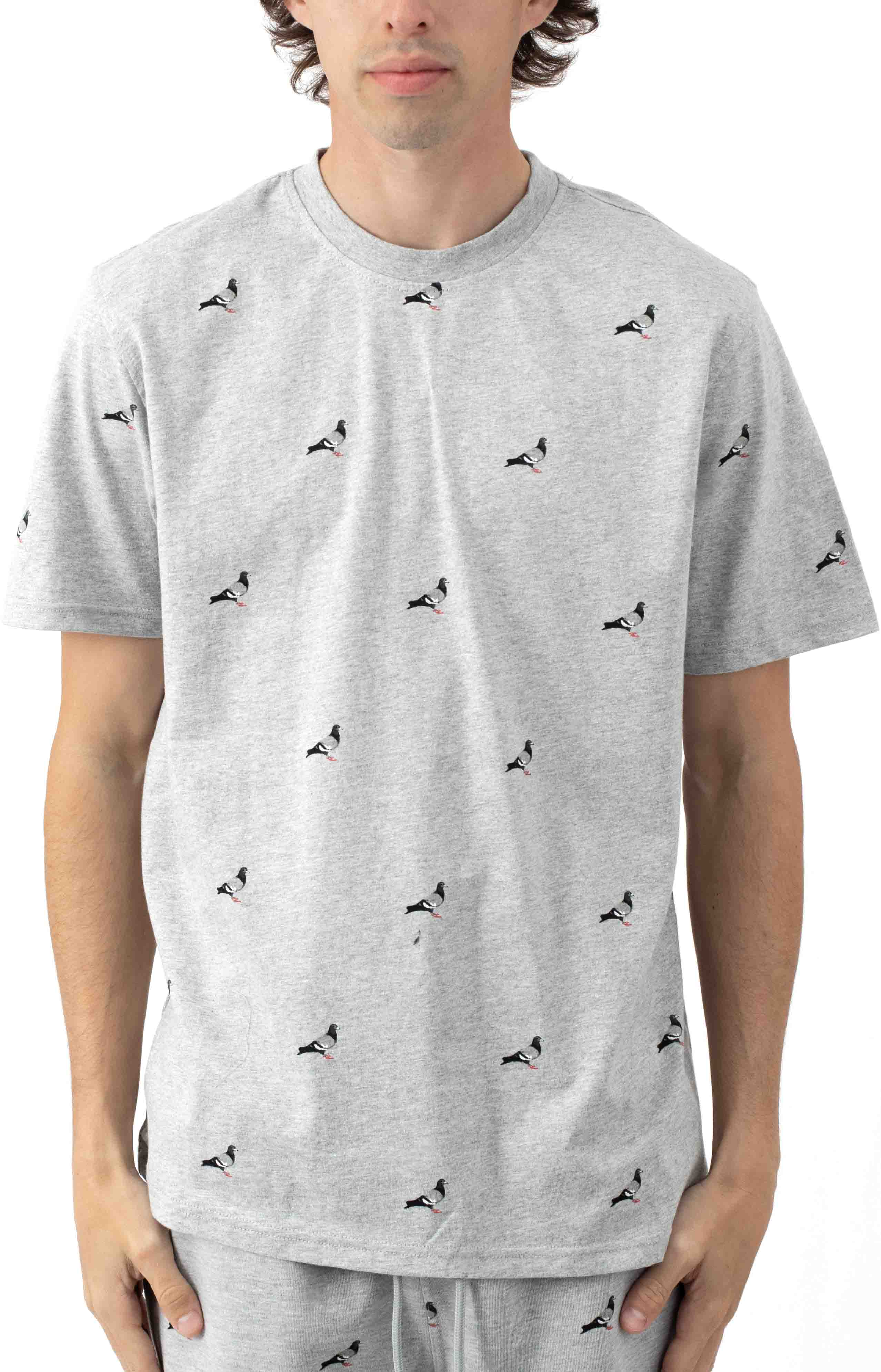 All Over Pigeon T-Shirt - Heather
