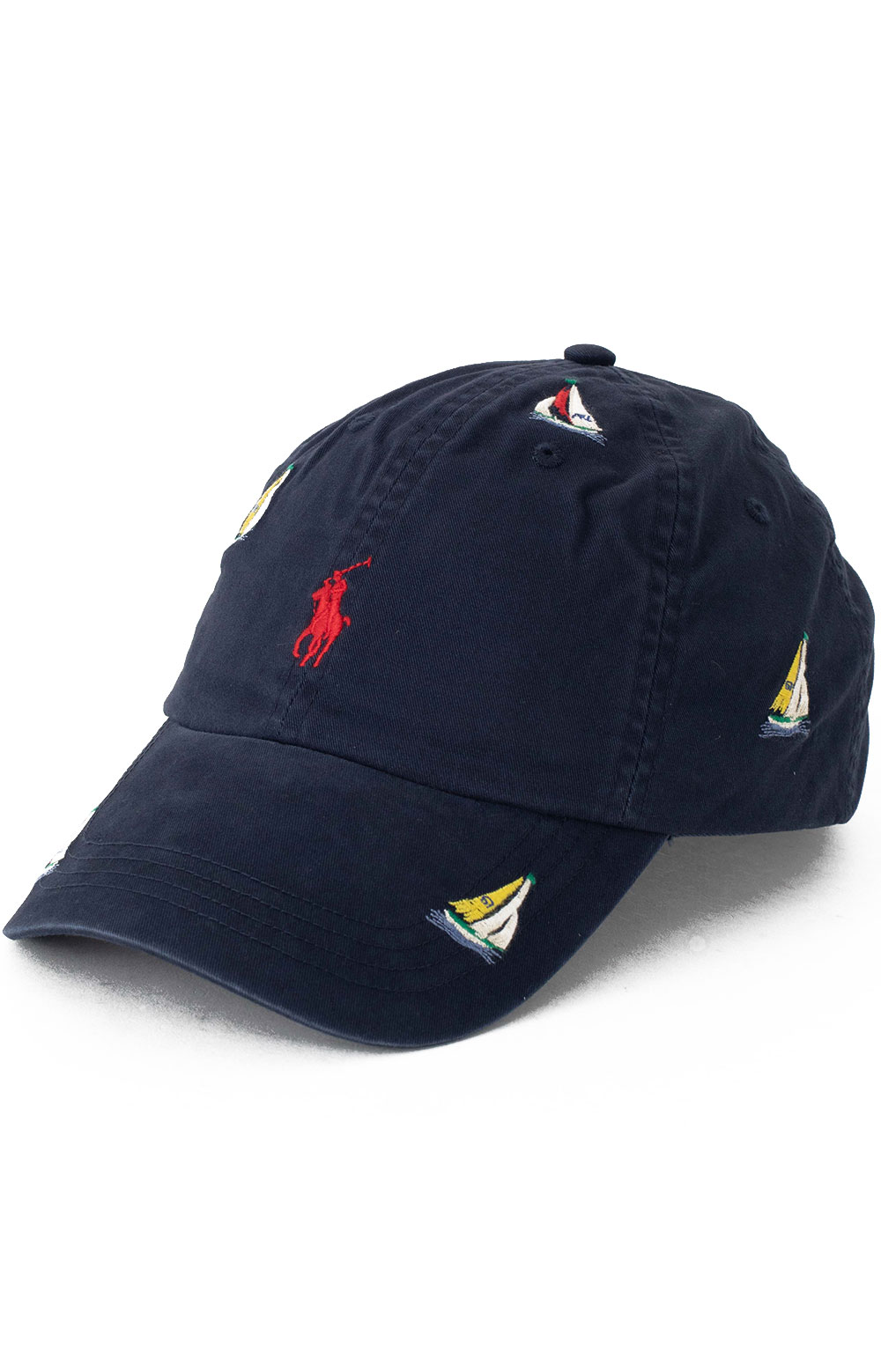 Embroidered Sailboat Ball Cap - Navy