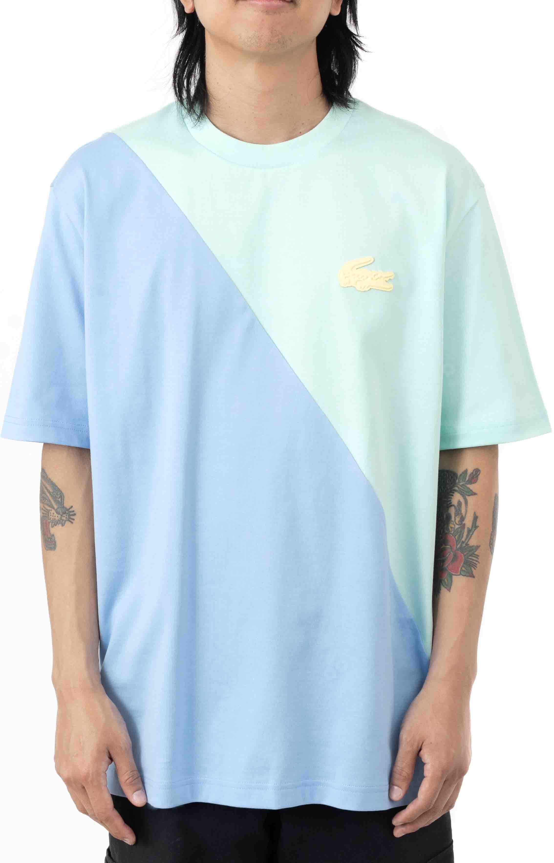 LIVE Loose Fit Colorblock T-Shirt - Turquoise/Blue