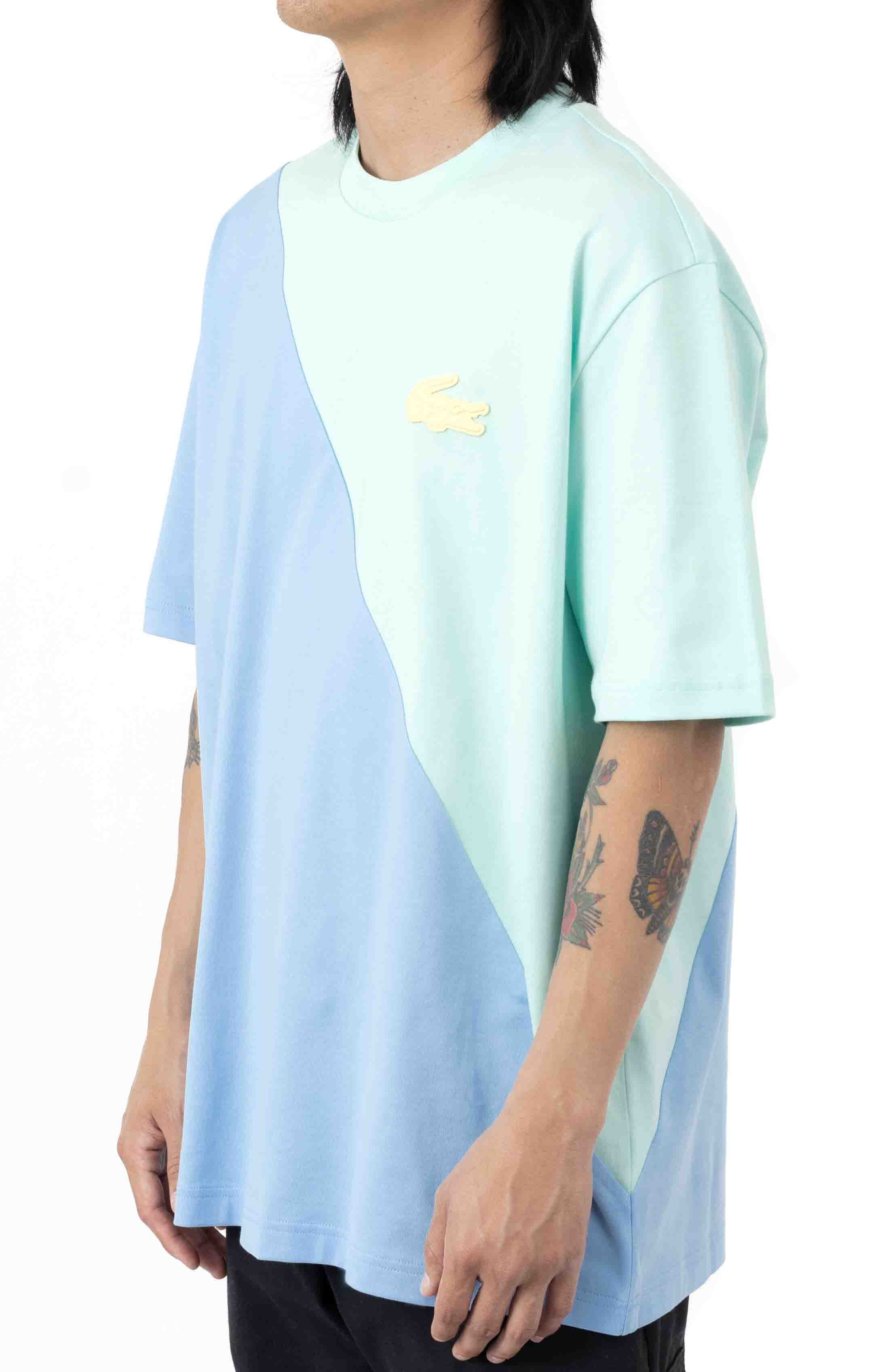 LIVE Loose Fit Colorblock T-Shirt - Turquoise/Blue 2