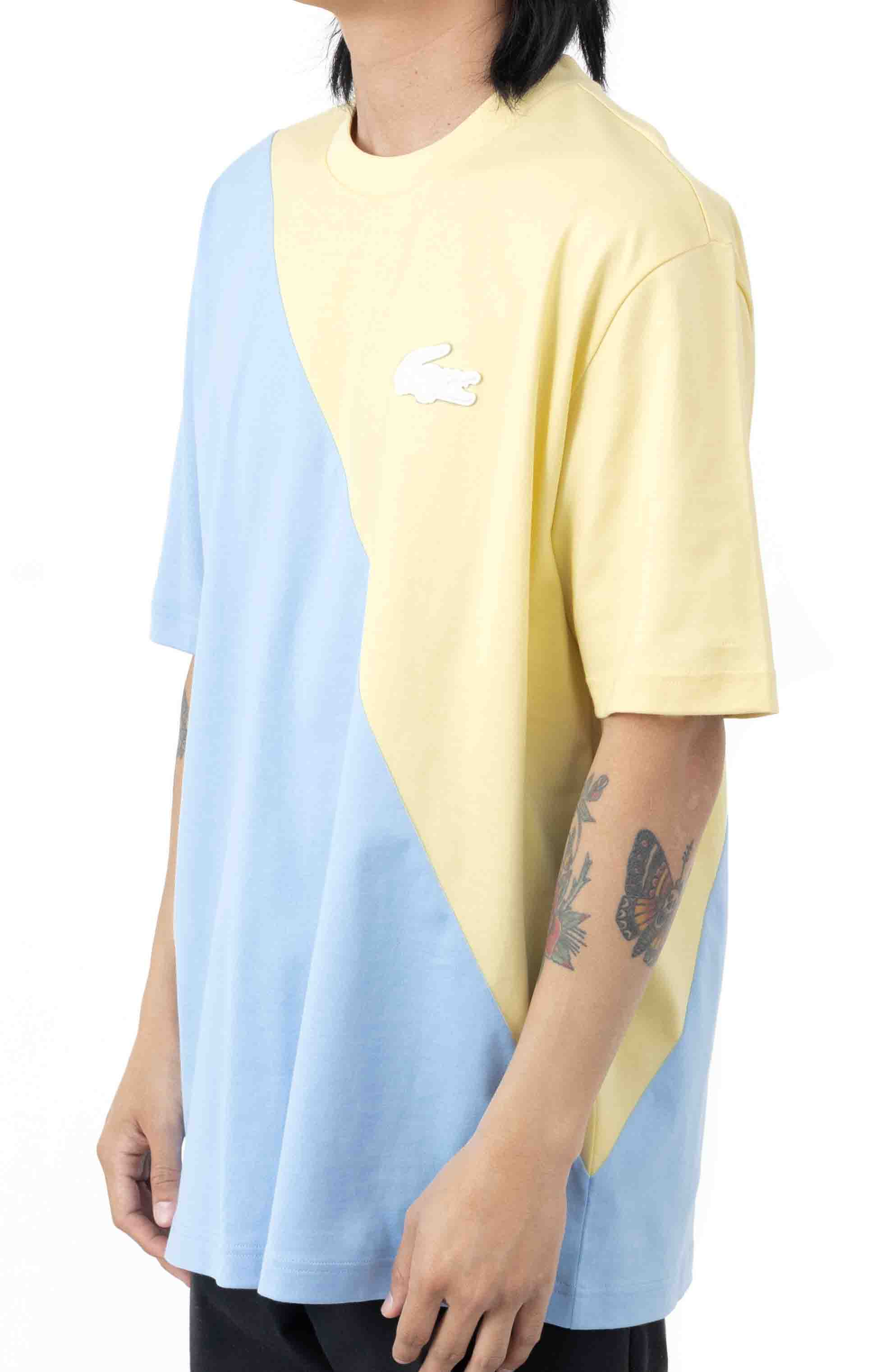 LIVE Loose Fit Colorblock T-Shirt - Yellow/Blue 2