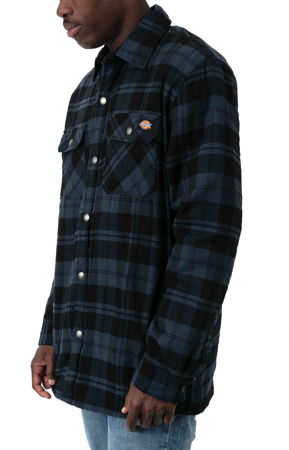 (TJ210OP1) Sherpa Lined Flannel Shirt Jacket with Hydroshield - Ink Navy Plaid  4