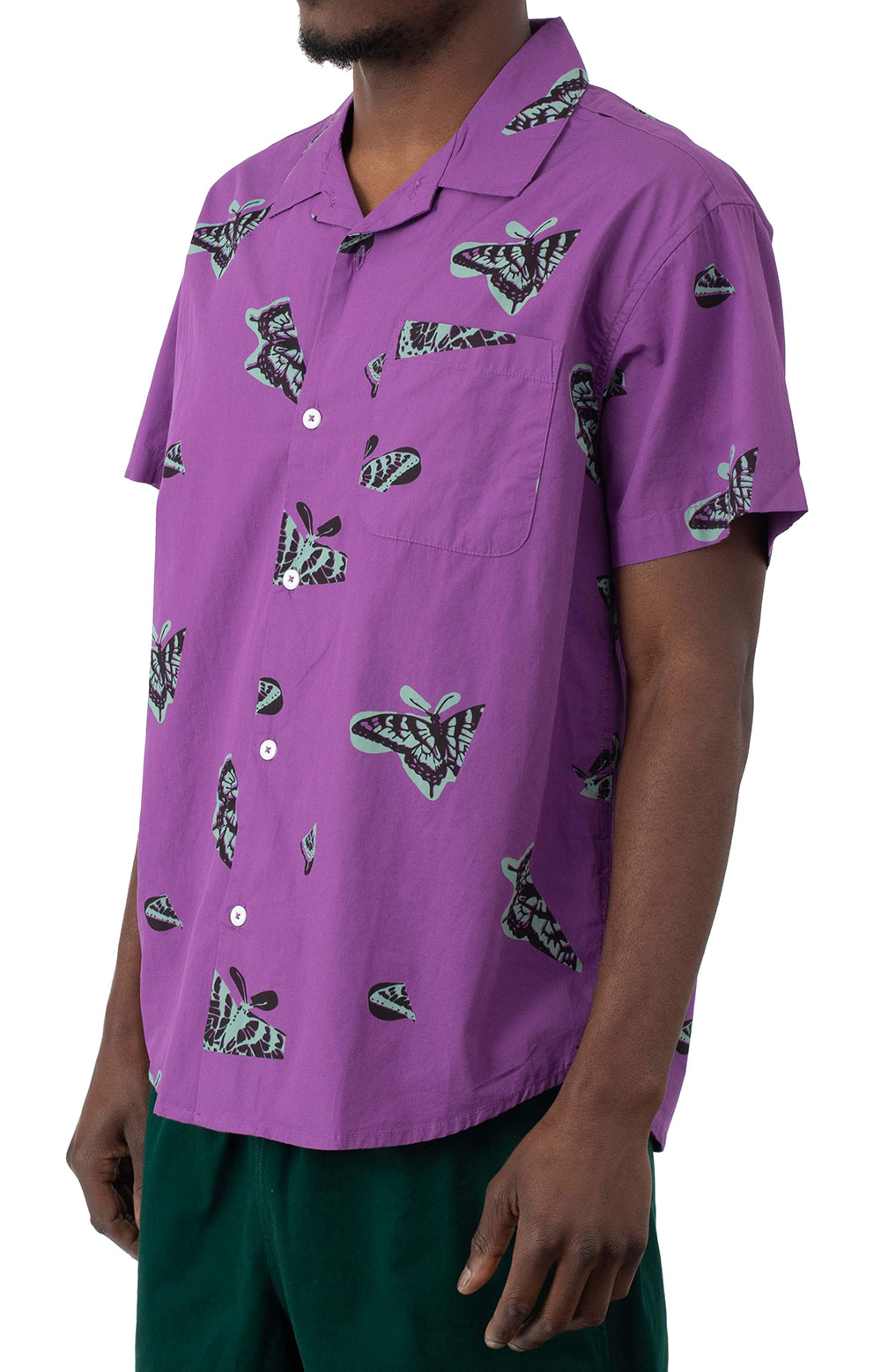 Butterfly Woven Button-Up Shirt - Purple Multi  2