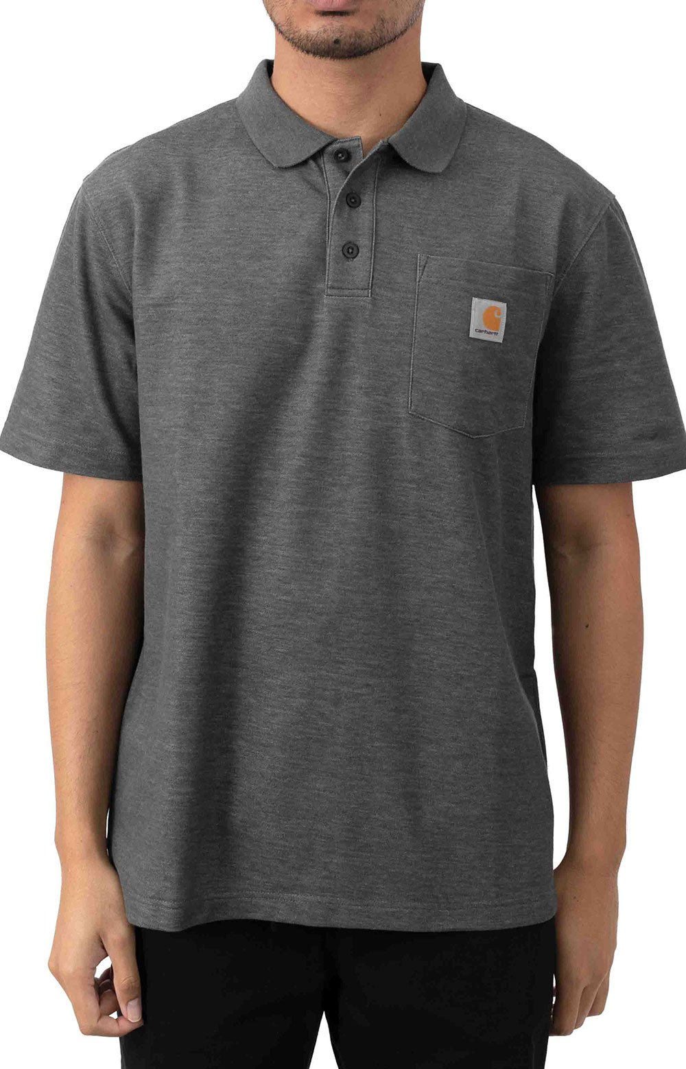 (K570) Contractor's Work Pocket Polo - Carbon Heather