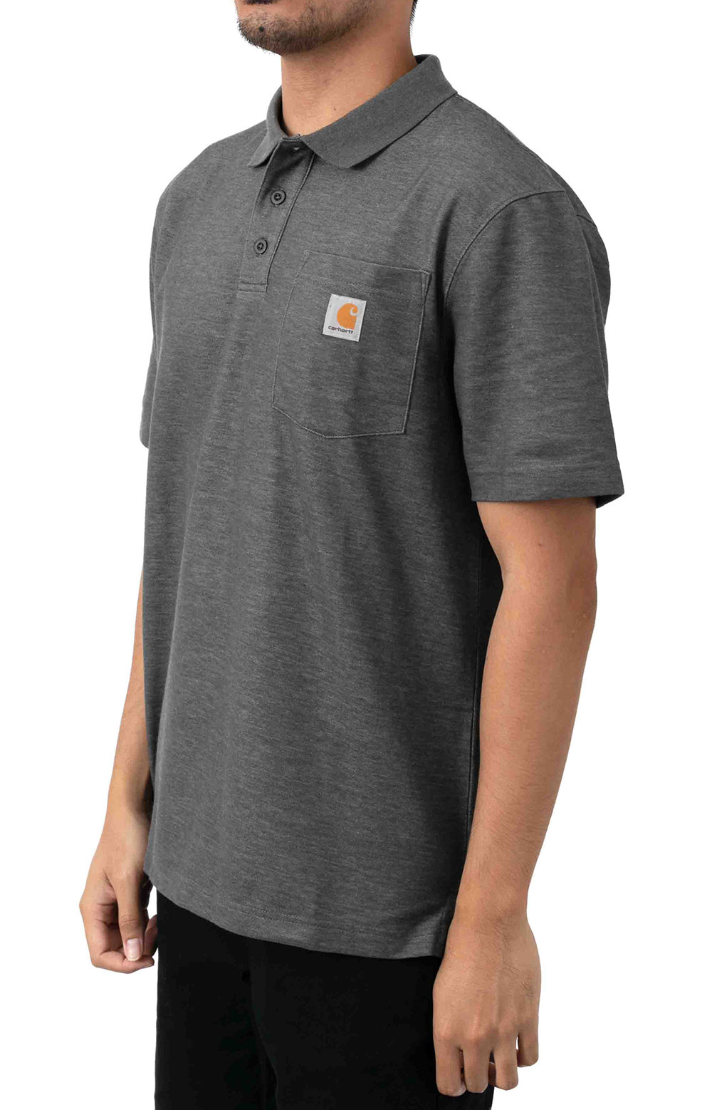(K570) Contractor's Work Pocket Polo - Carbon Heather  2