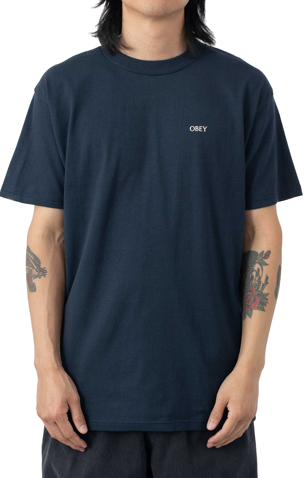 Obey Radiant Lotus T-Shirt - Navy  2