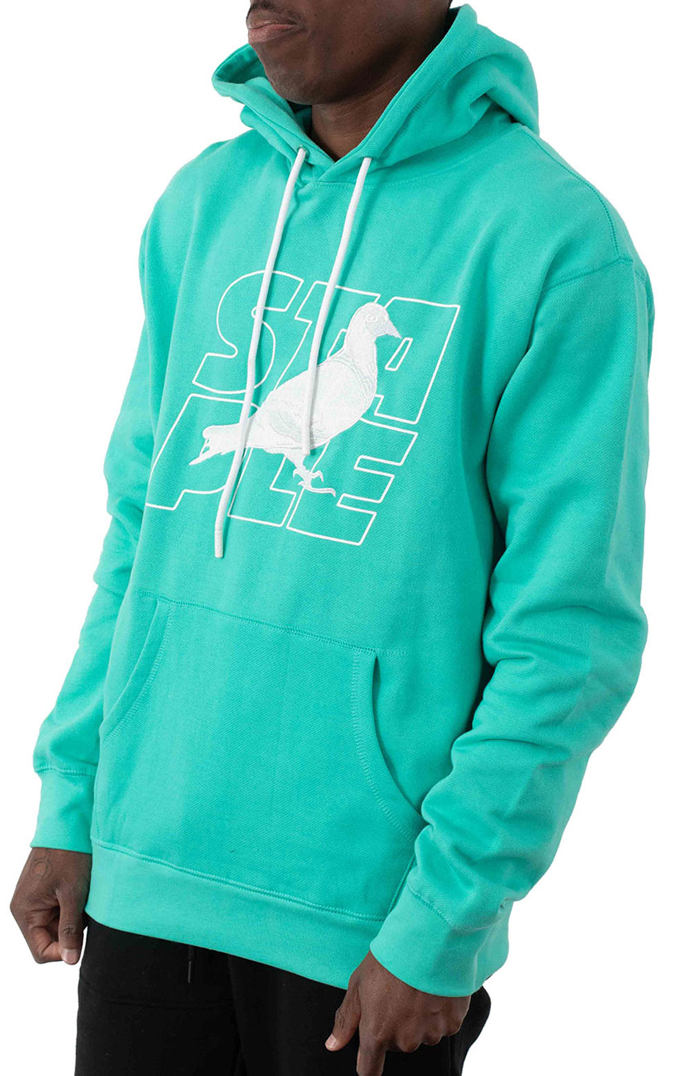 Stacked Logo Pullover Hoodie - Teal 2