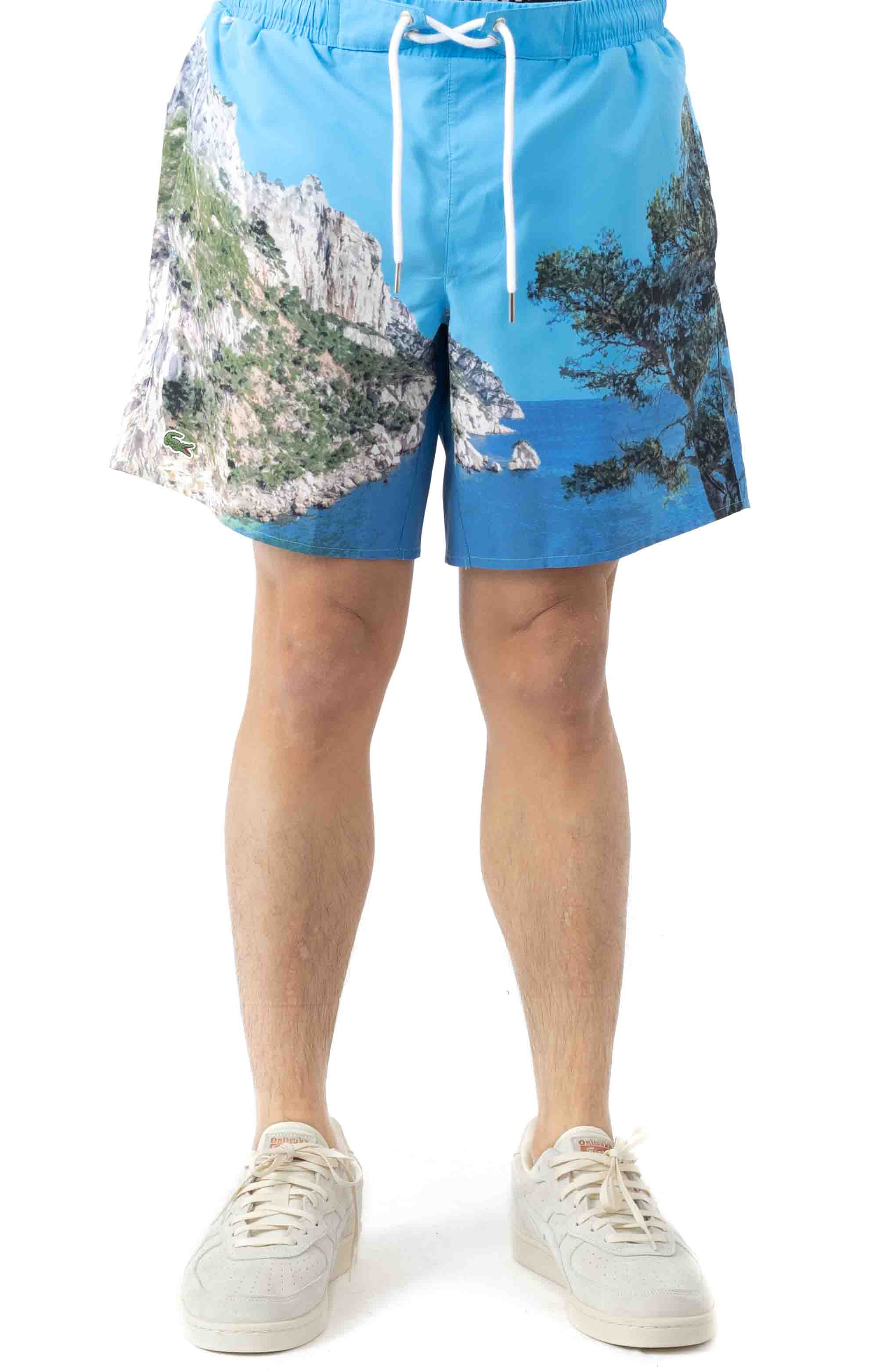 Lace-Up Waist Print Swimming Trunks - Blue/White 2