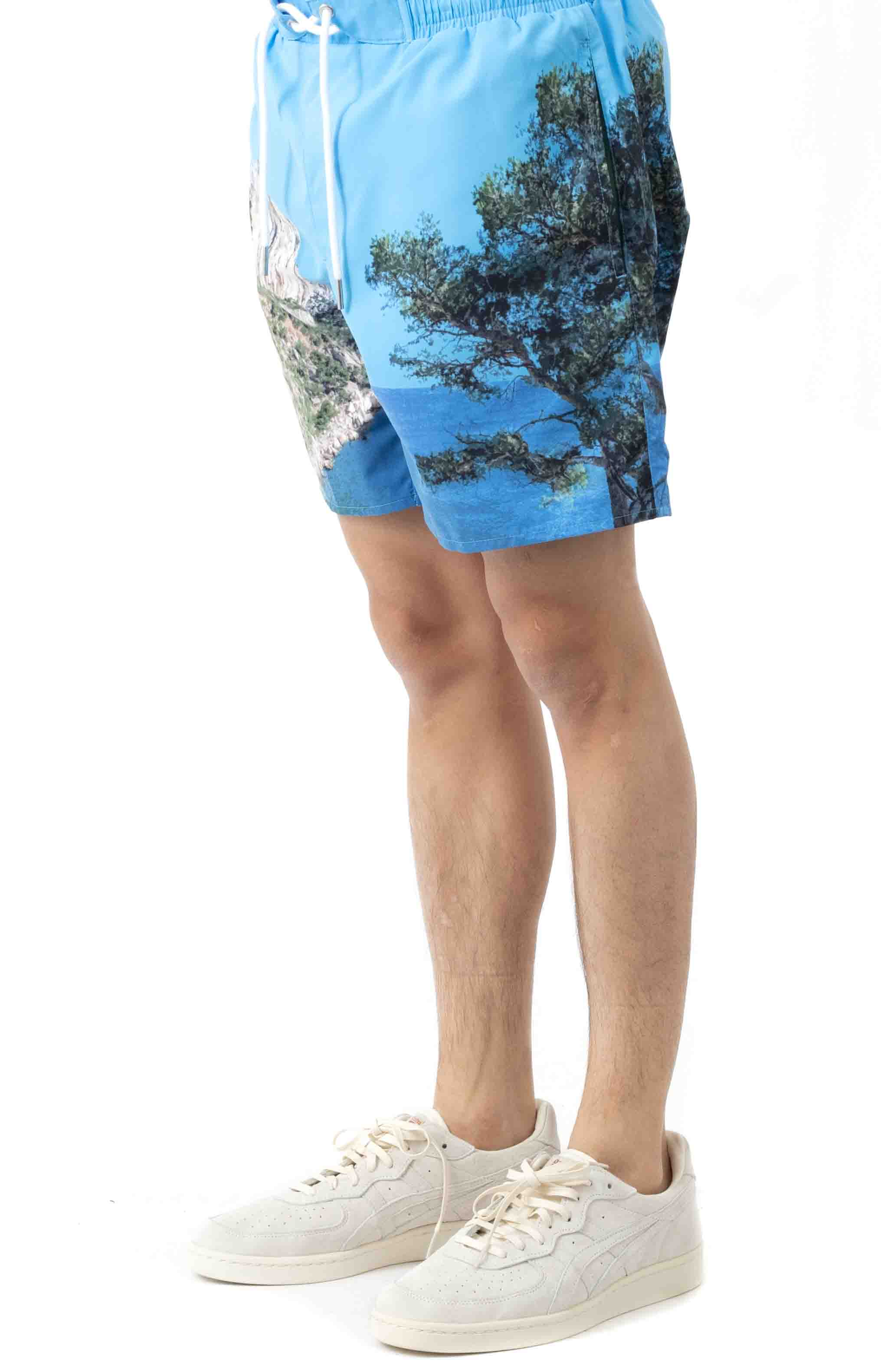 Lace-Up Waist Print Swimming Trunks - Blue/White