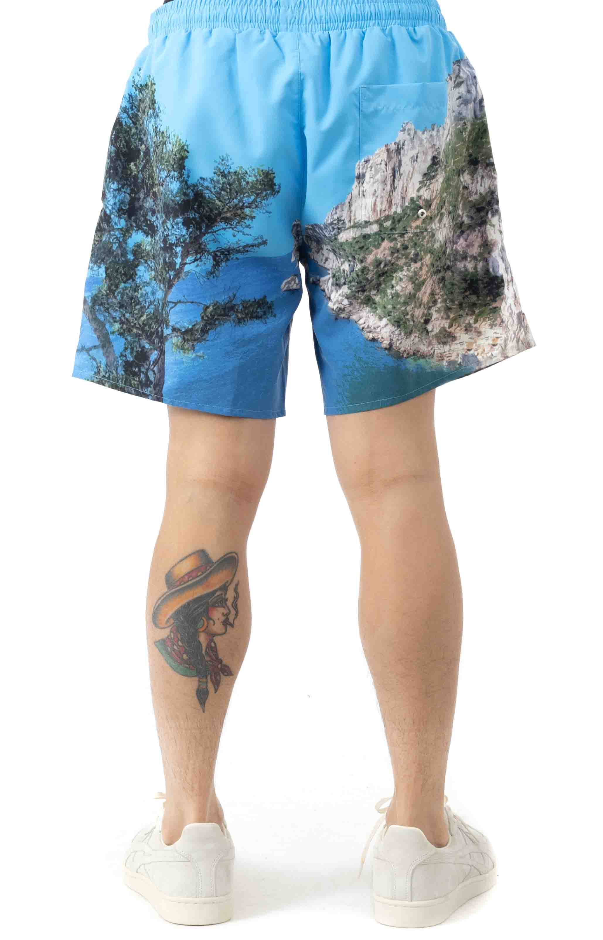 Lace-Up Waist Print Swimming Trunks - Blue/White 3