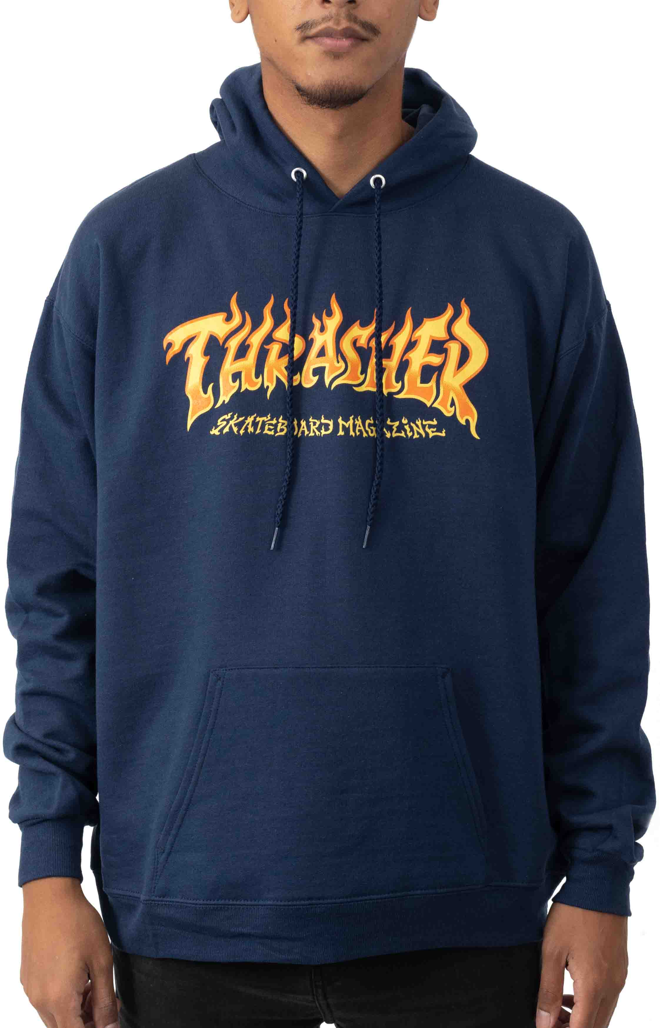 Fire Logo Pullover Hoodie - Navy