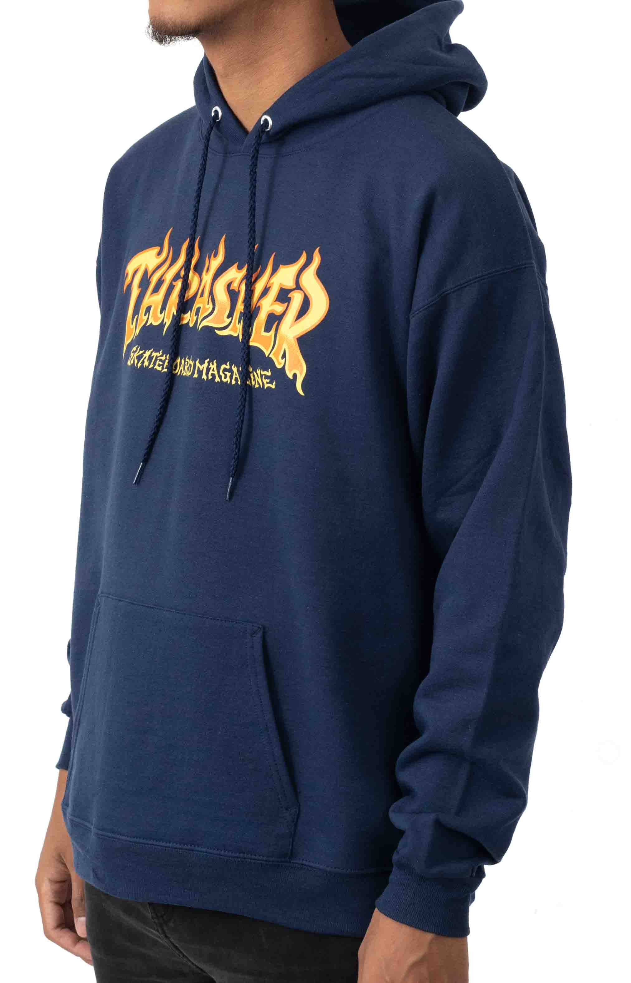 Fire Logo Pullover Hoodie - Navy  2