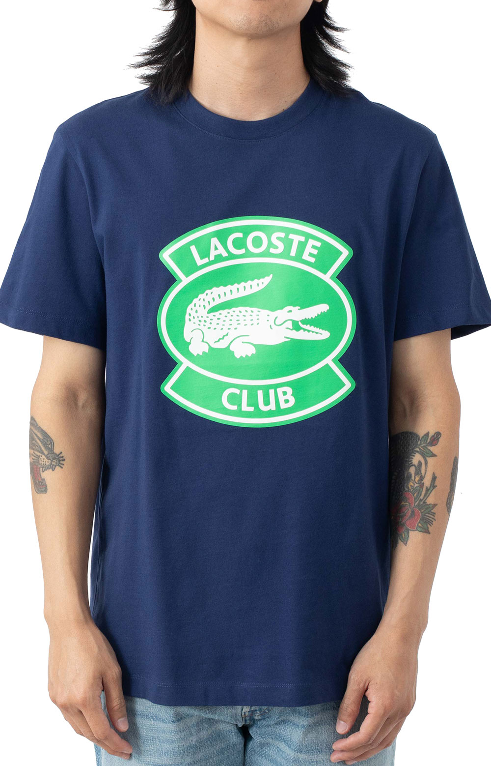Oversized Lacoste Club Badge Cotton T-Shirt - Navy