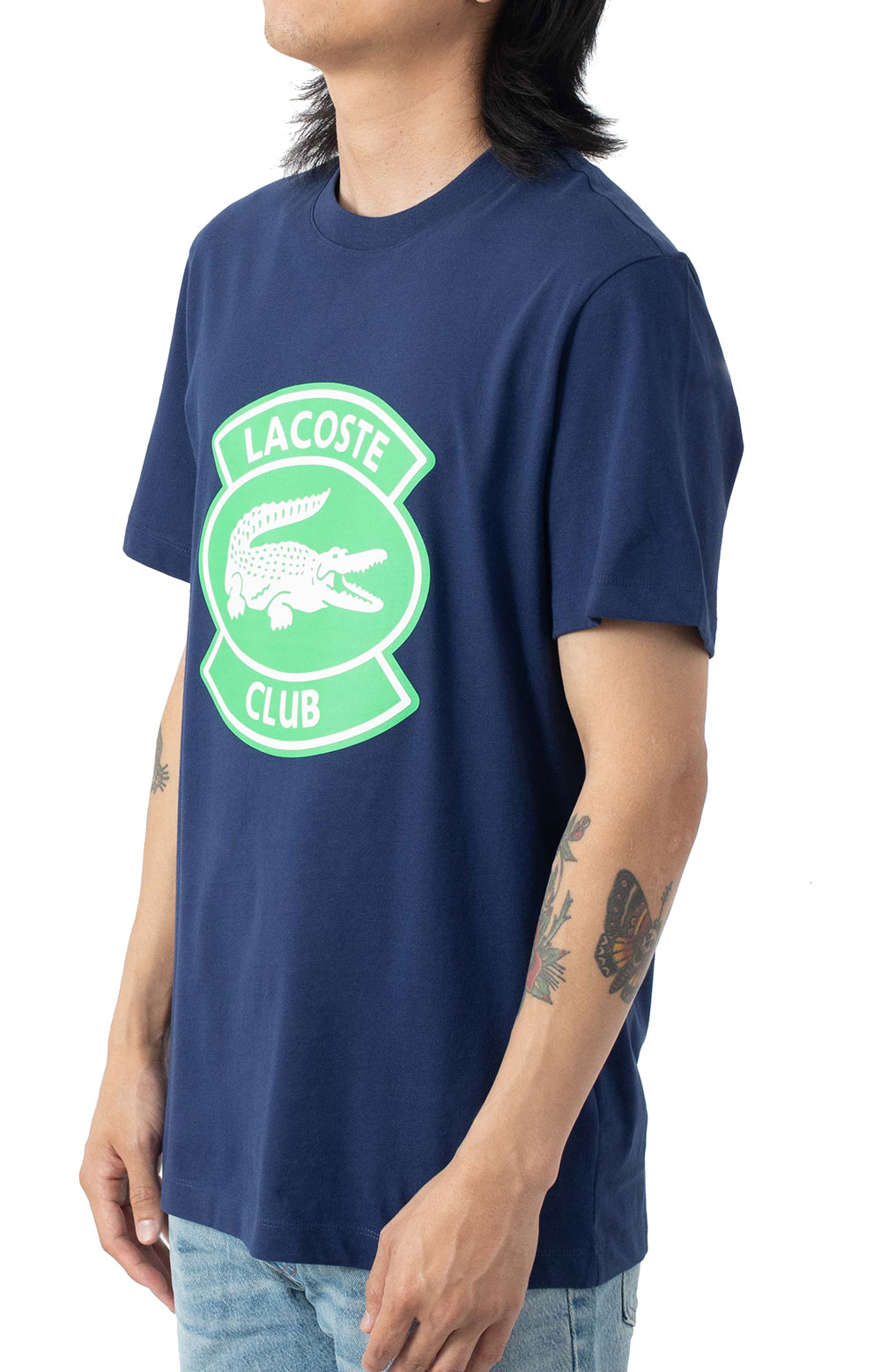 Oversized Lacoste Club Badge Cotton T-Shirt - Navy 2