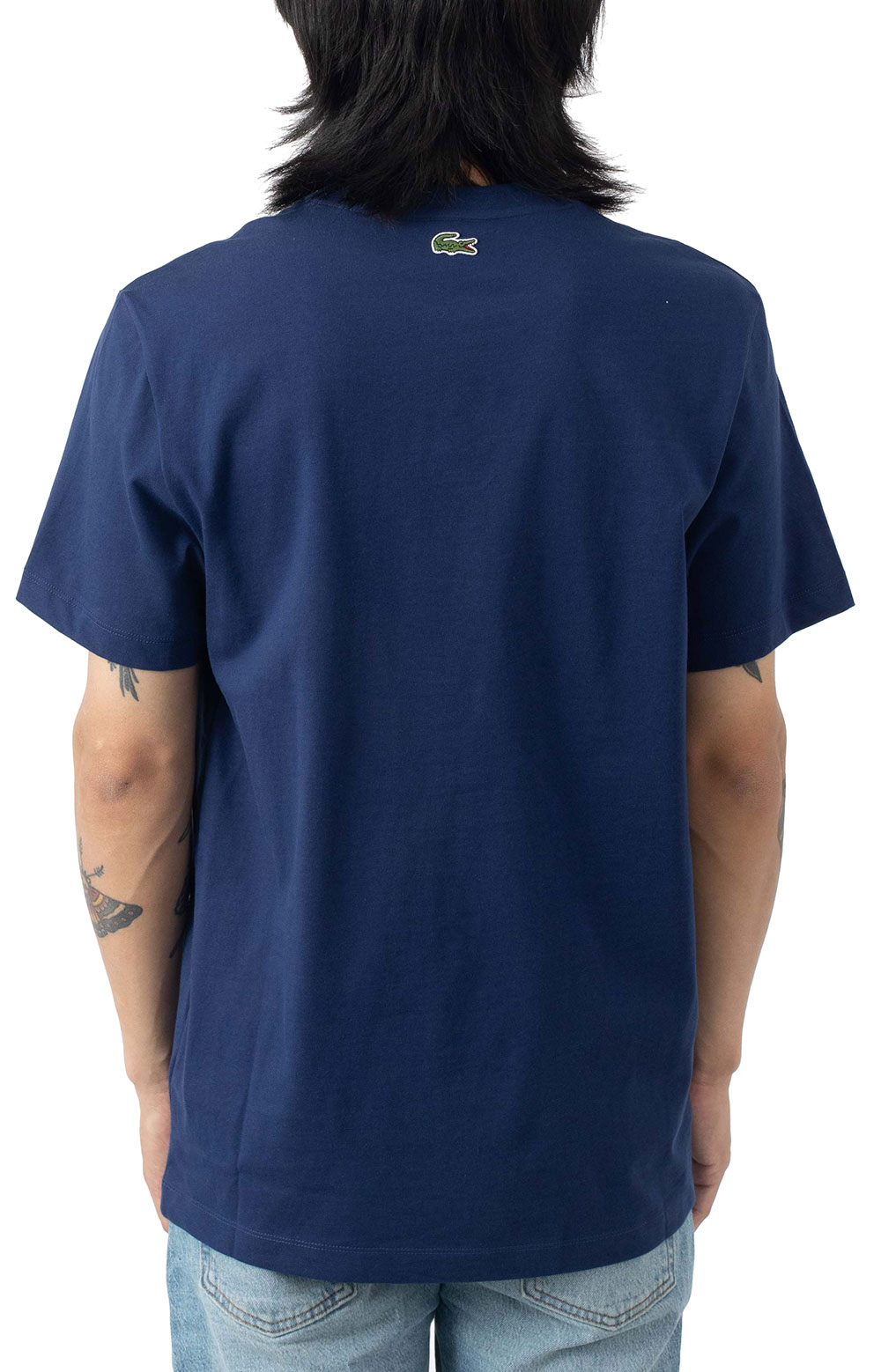 Oversized Lacoste Club Badge Cotton T-Shirt - Navy 3