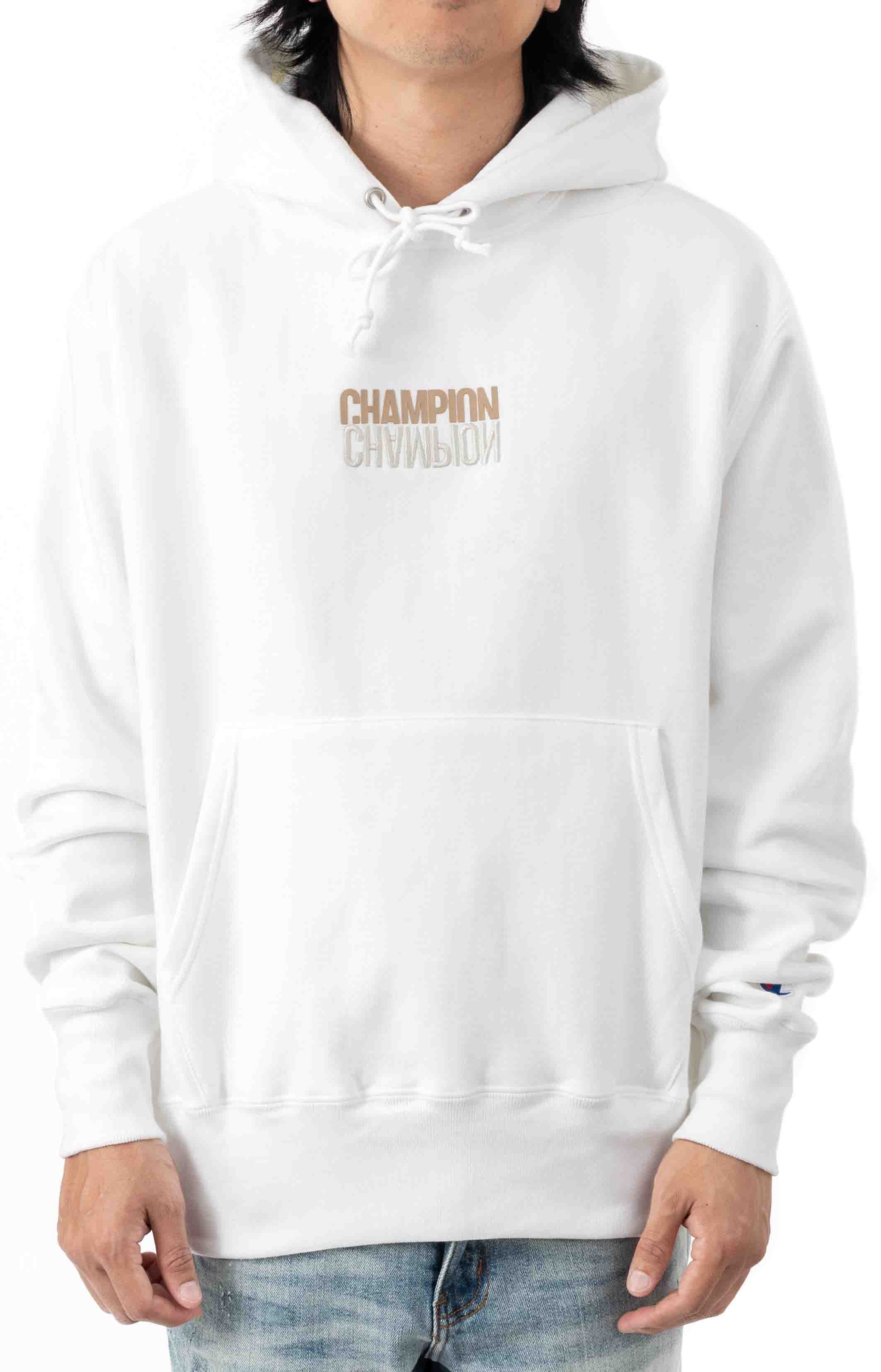 Reflective Logo Pullover Hoodie - White