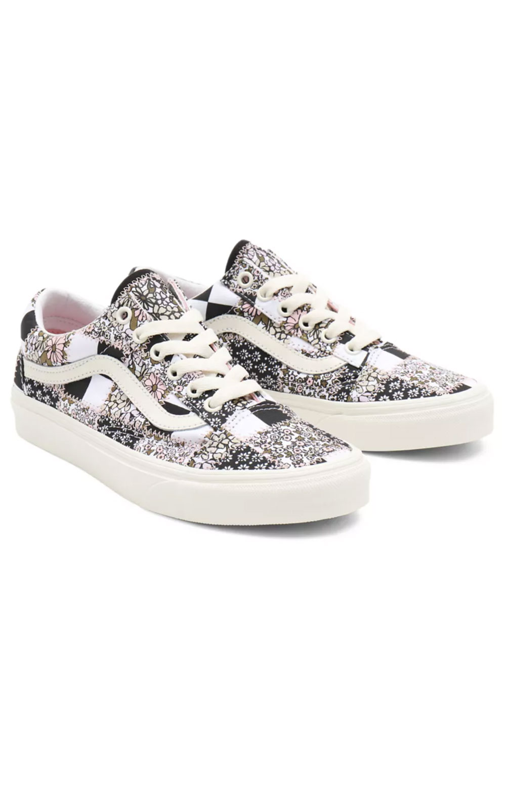 (8G19FY) Patchwork Floral Old Skool Shoes - Multi/Marshmallow  5