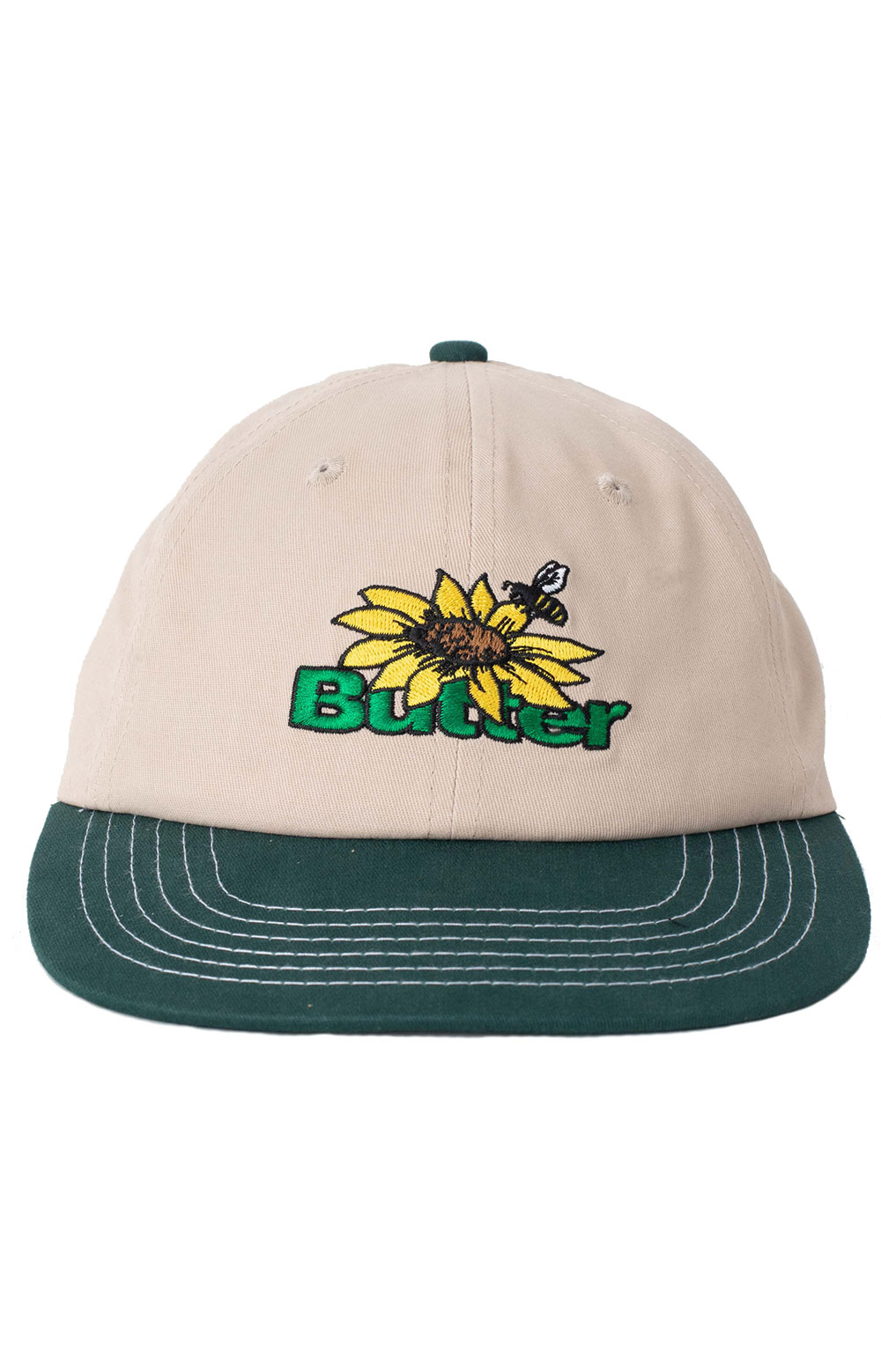 Sunflower 6 Panel Hat - Natural/Forest  2