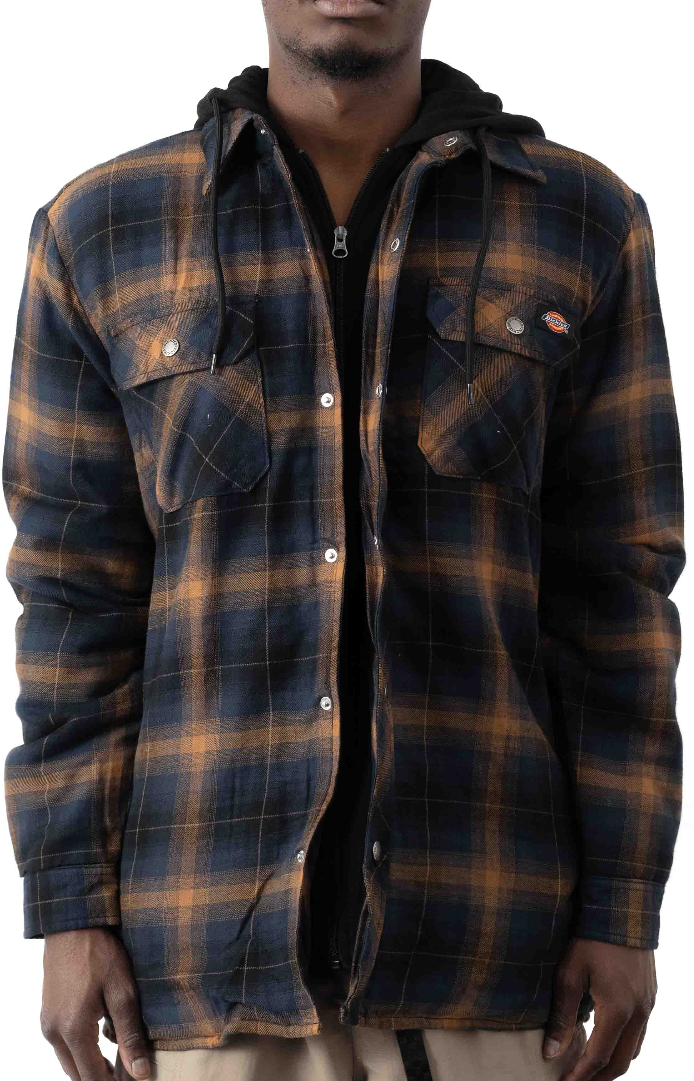 (TJ211IP1) Fleece Hooded Flannel Shirt Jacket with Hydroshield - Ink Navy Brown Ombre Plaid