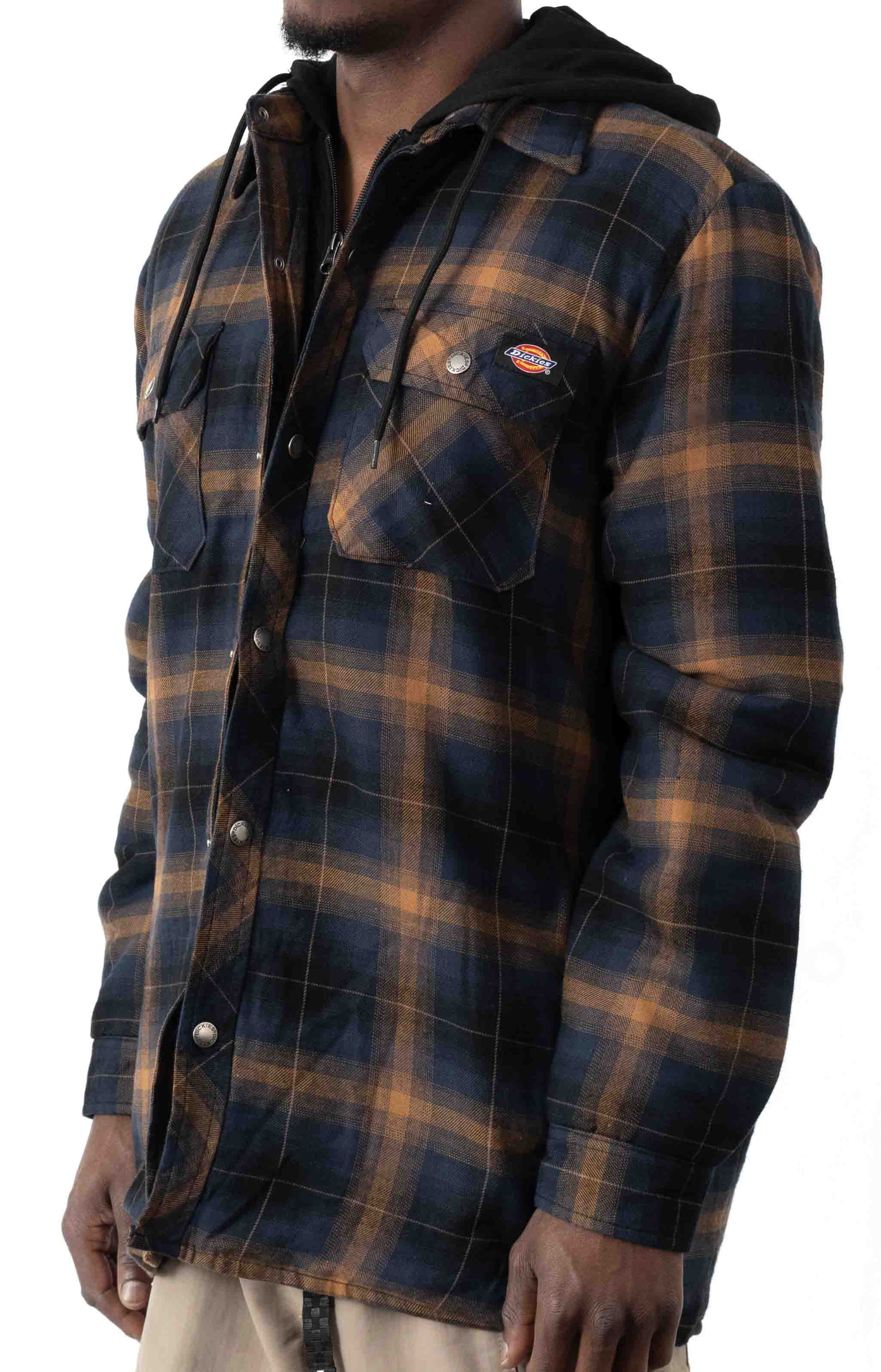 (TJ211IP1) Fleece Hooded Flannel Shirt Jacket with Hydroshield - Ink Navy Brown Ombre Plaid 2