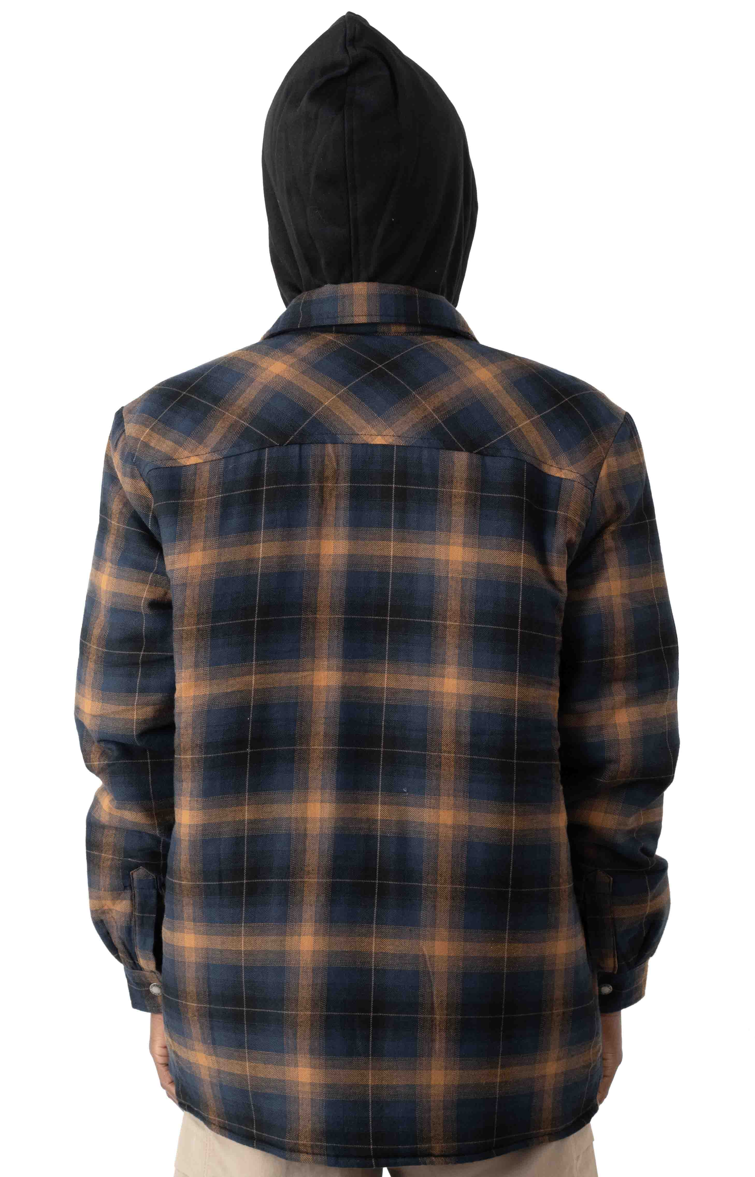 (TJ211IP1) Fleece Hooded Flannel Shirt Jacket with Hydroshield - Ink Navy Brown Ombre Plaid 3