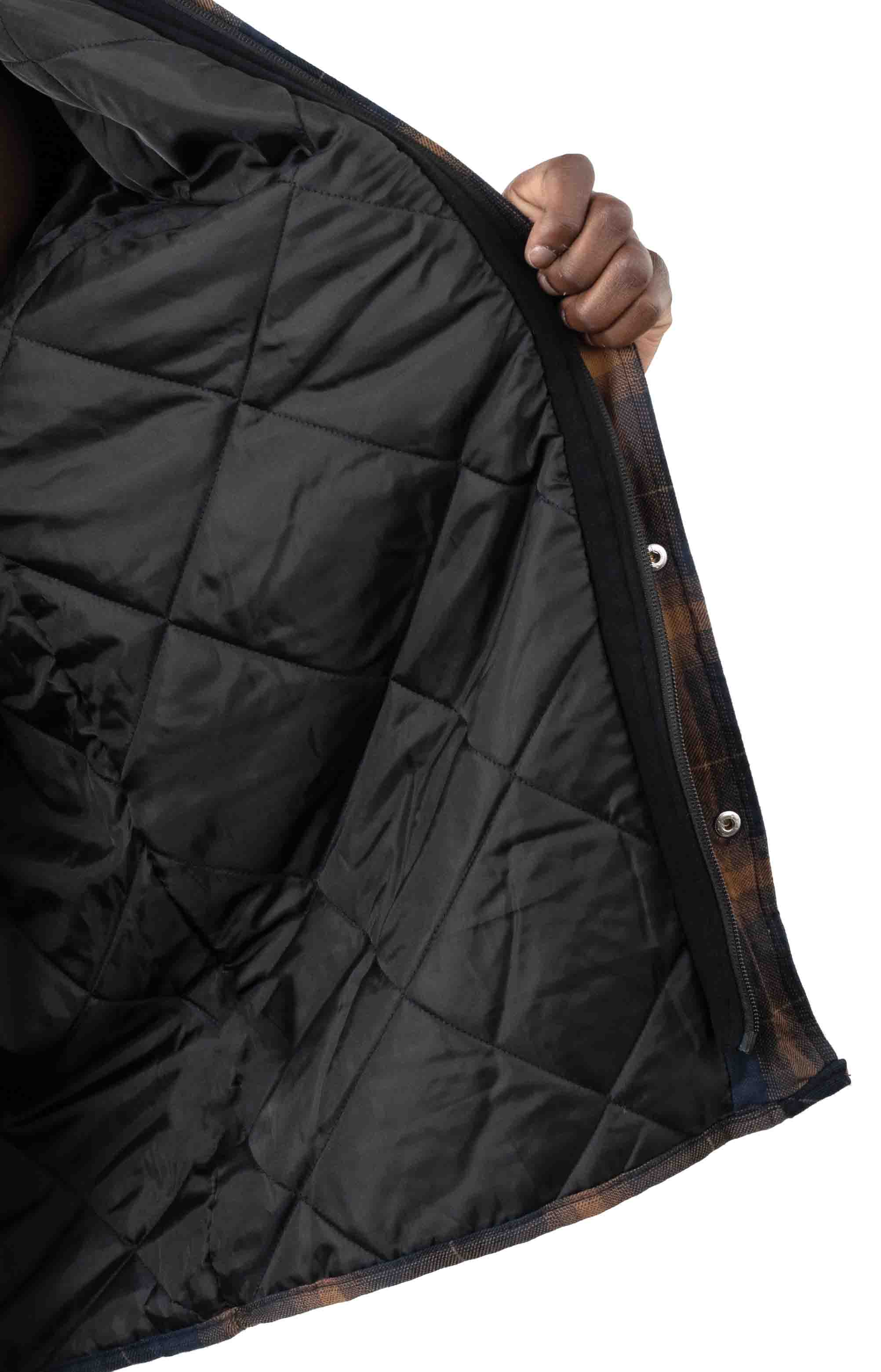 (TJ211IP1) Fleece Hooded Flannel Shirt Jacket with Hydroshield - Ink Navy Brown Ombre Plaid 4