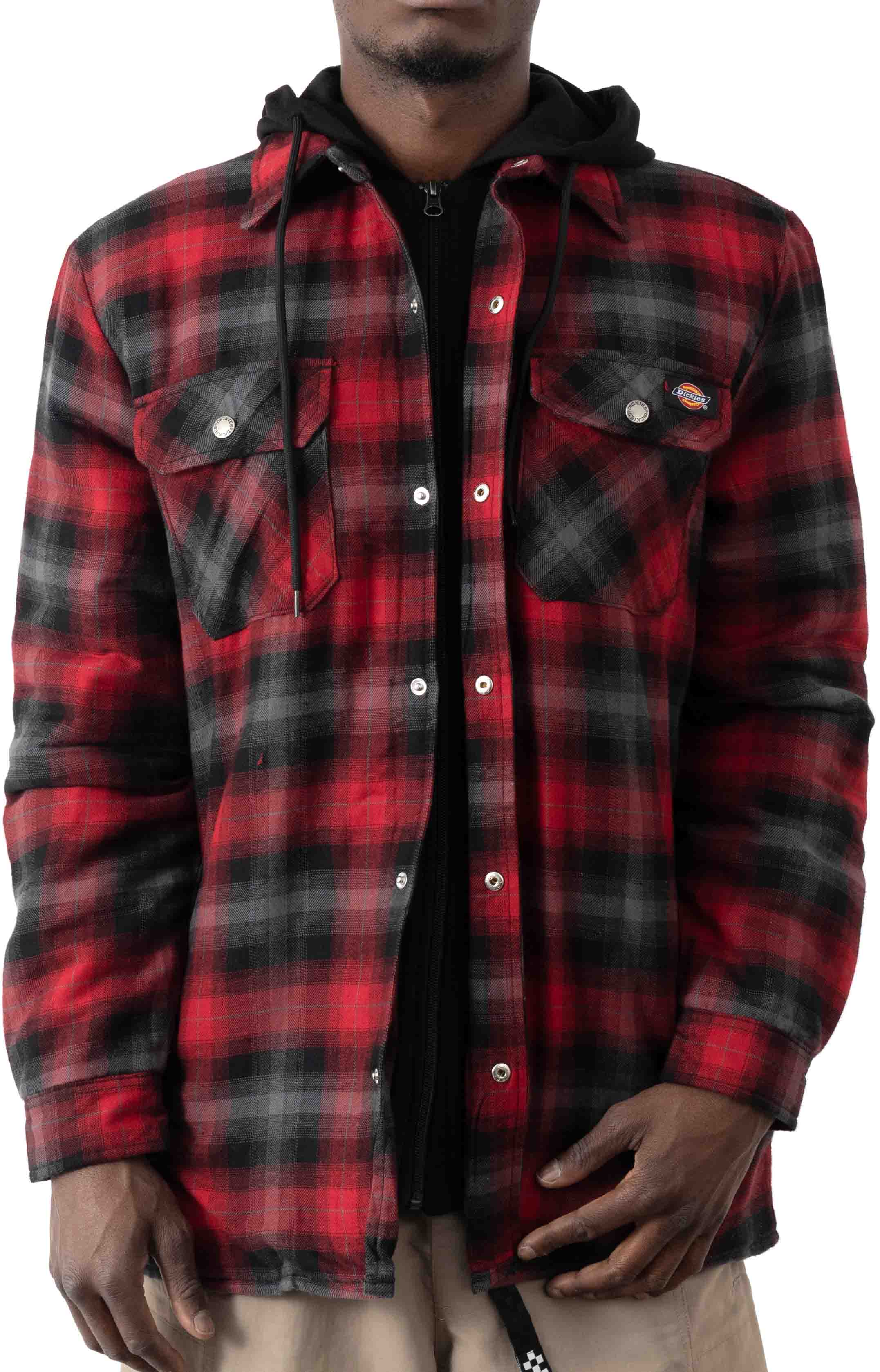(TJ211INP1) Fleece Hooded Flannel Shirt Jacket with Hydroshield - English Red Black Ombre P