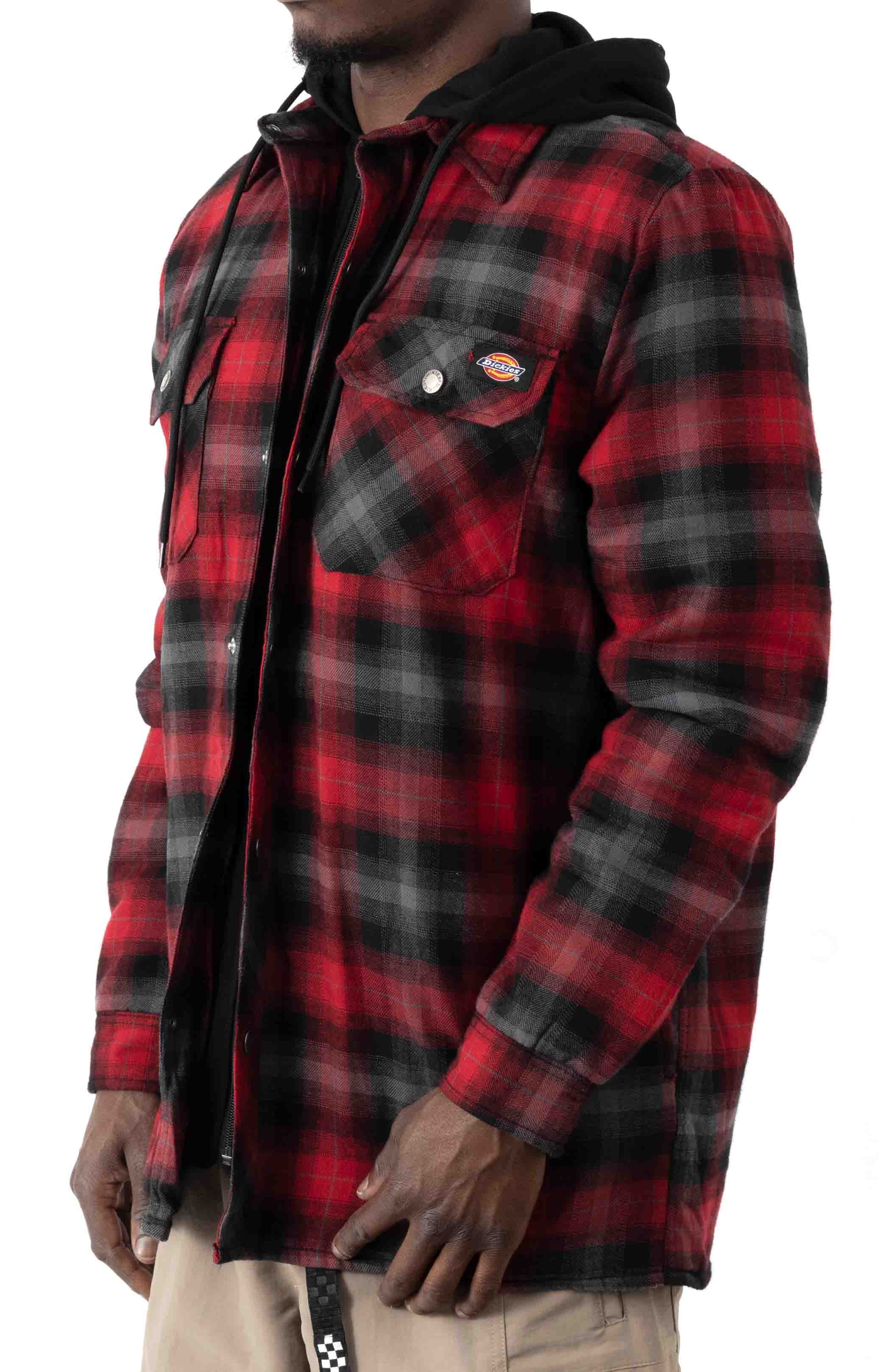 (TJ211INP1) Fleece Hooded Flannel Shirt Jacket with Hydroshield - English Red Black Ombre P 2