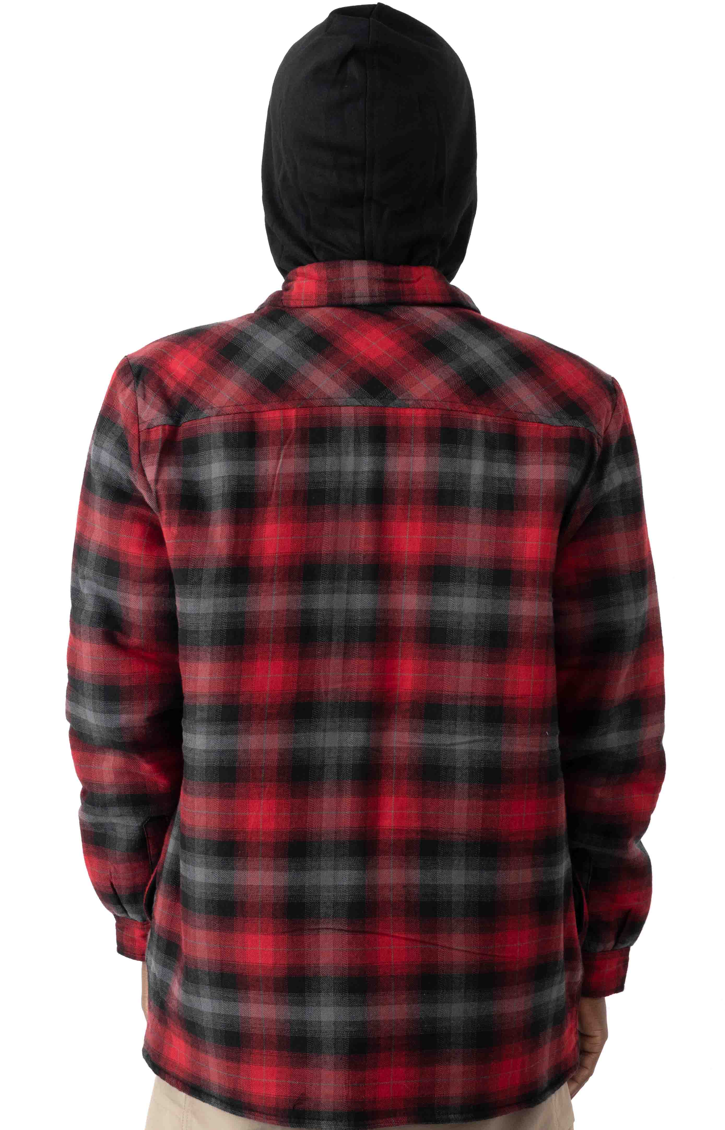 (TJ211INP1) Fleece Hooded Flannel Shirt Jacket with Hydroshield - English Red Black Ombre P 3