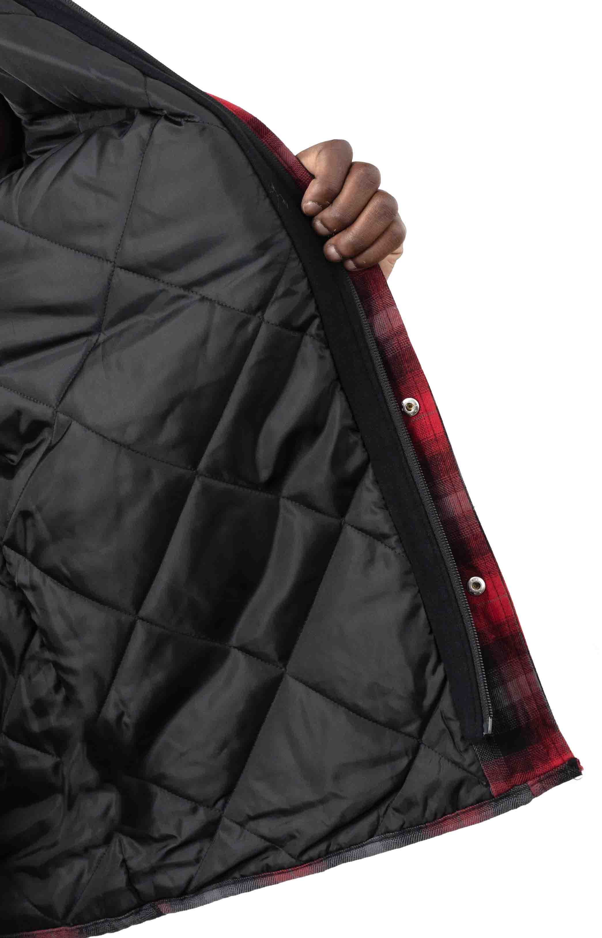 (TJ211INP1) Fleece Hooded Flannel Shirt Jacket with Hydroshield - English Red Black Ombre P 4