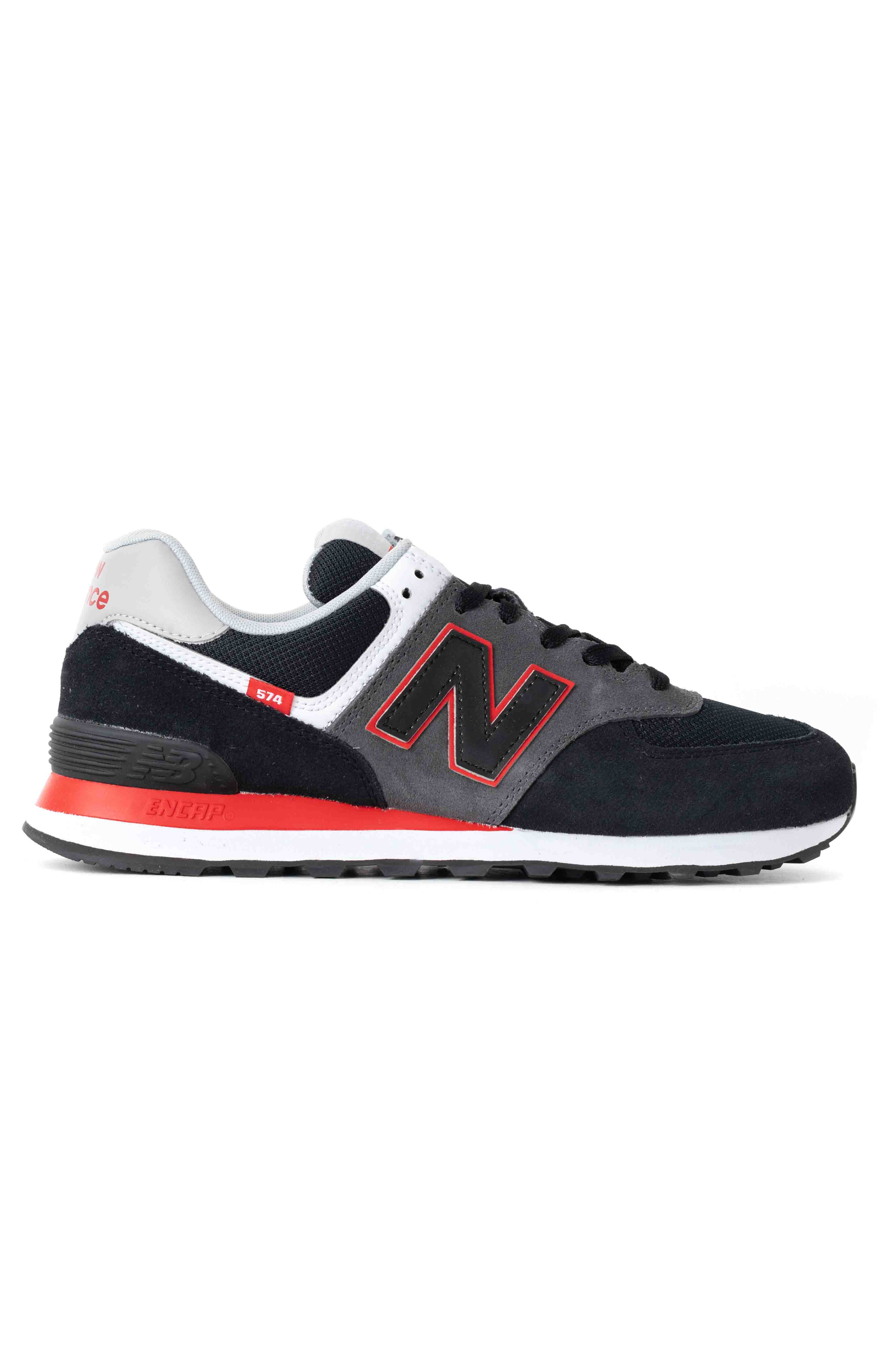 (ML574SM2) 574 Shoes - Black/Velocity Red